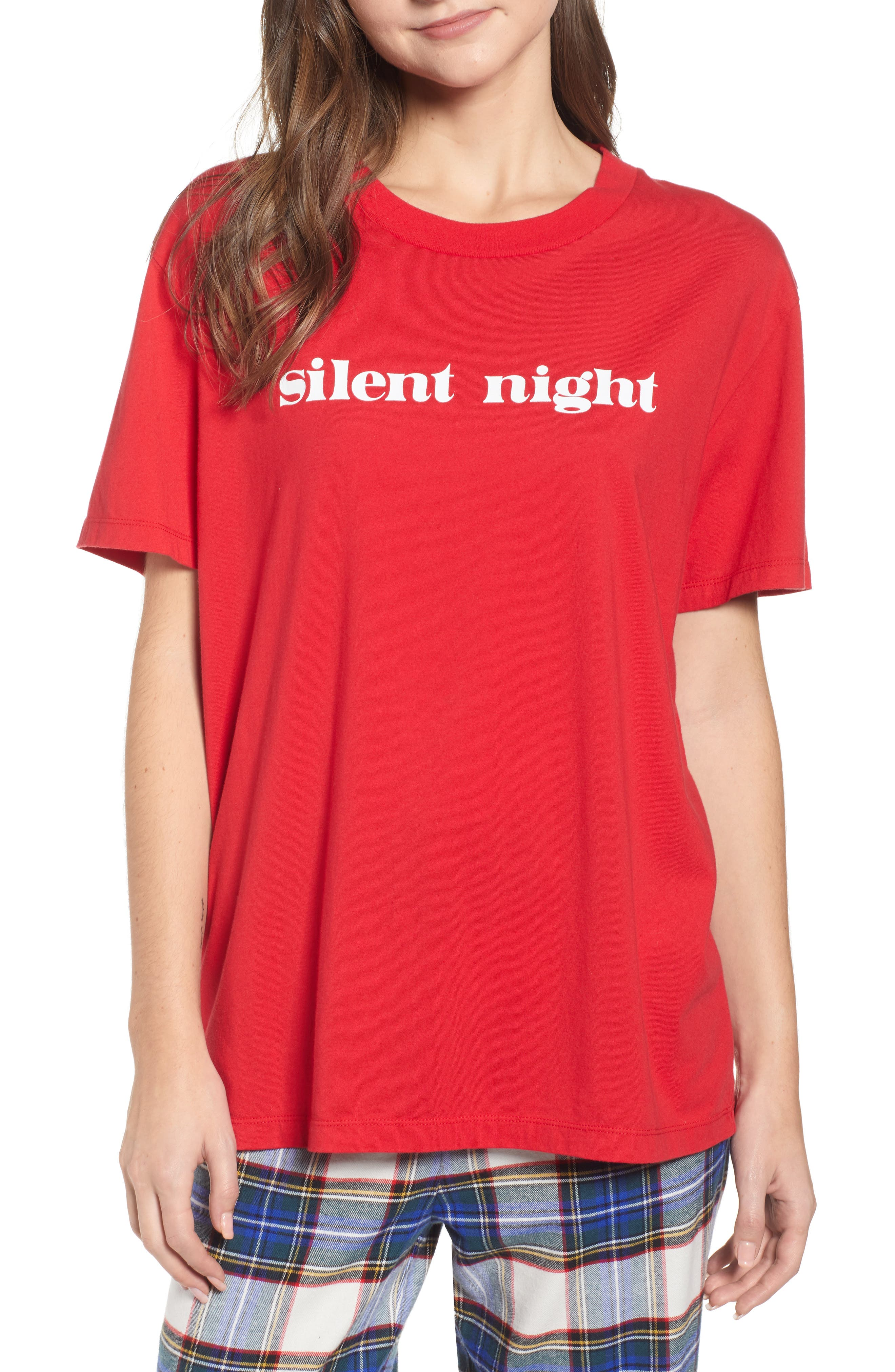 SLEEPY JONES Silent Night Tee, Main, color, RED