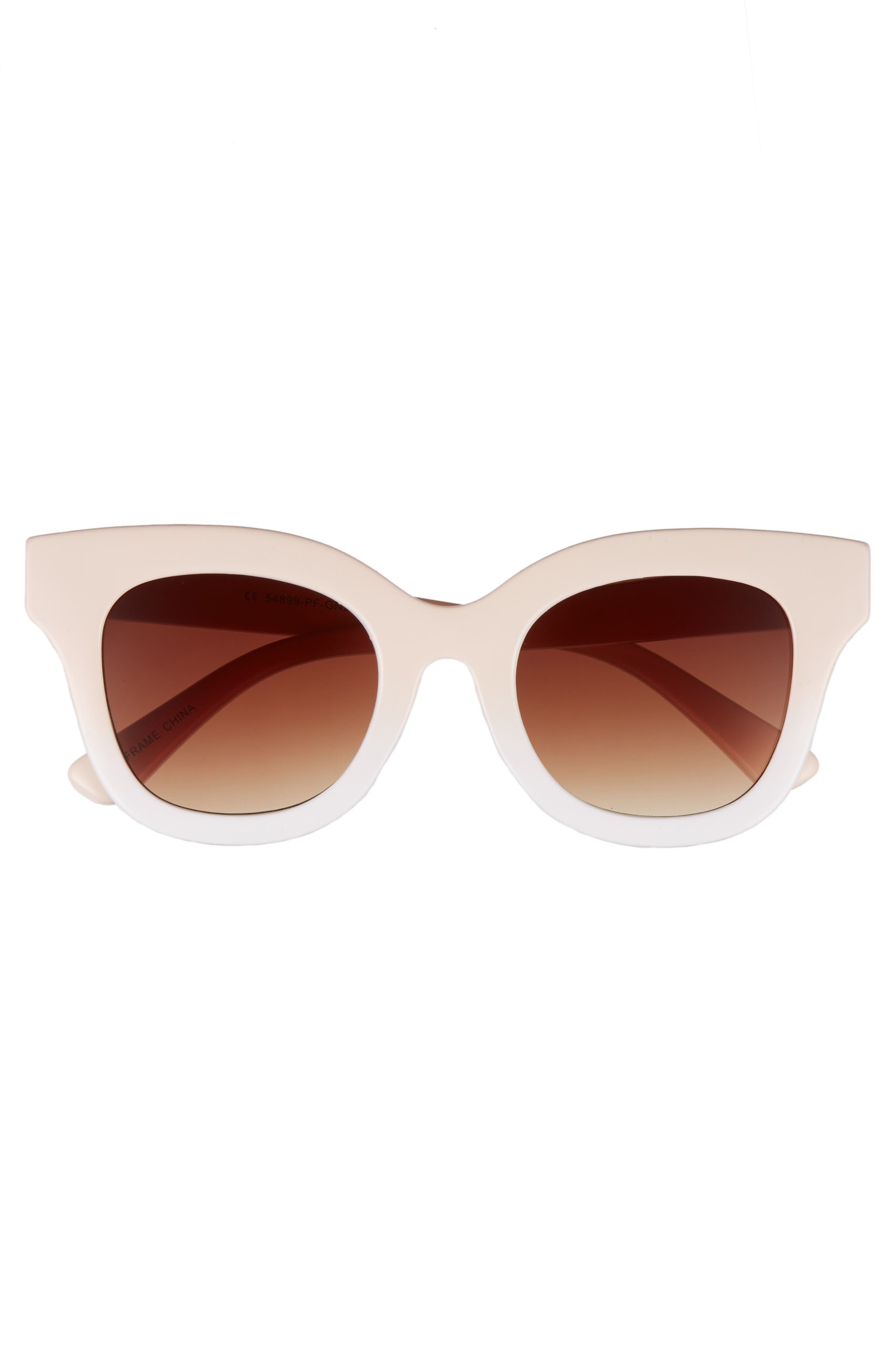 50mm Ombré Square Sunglasses,                             Alternate thumbnail 3, color,                             650