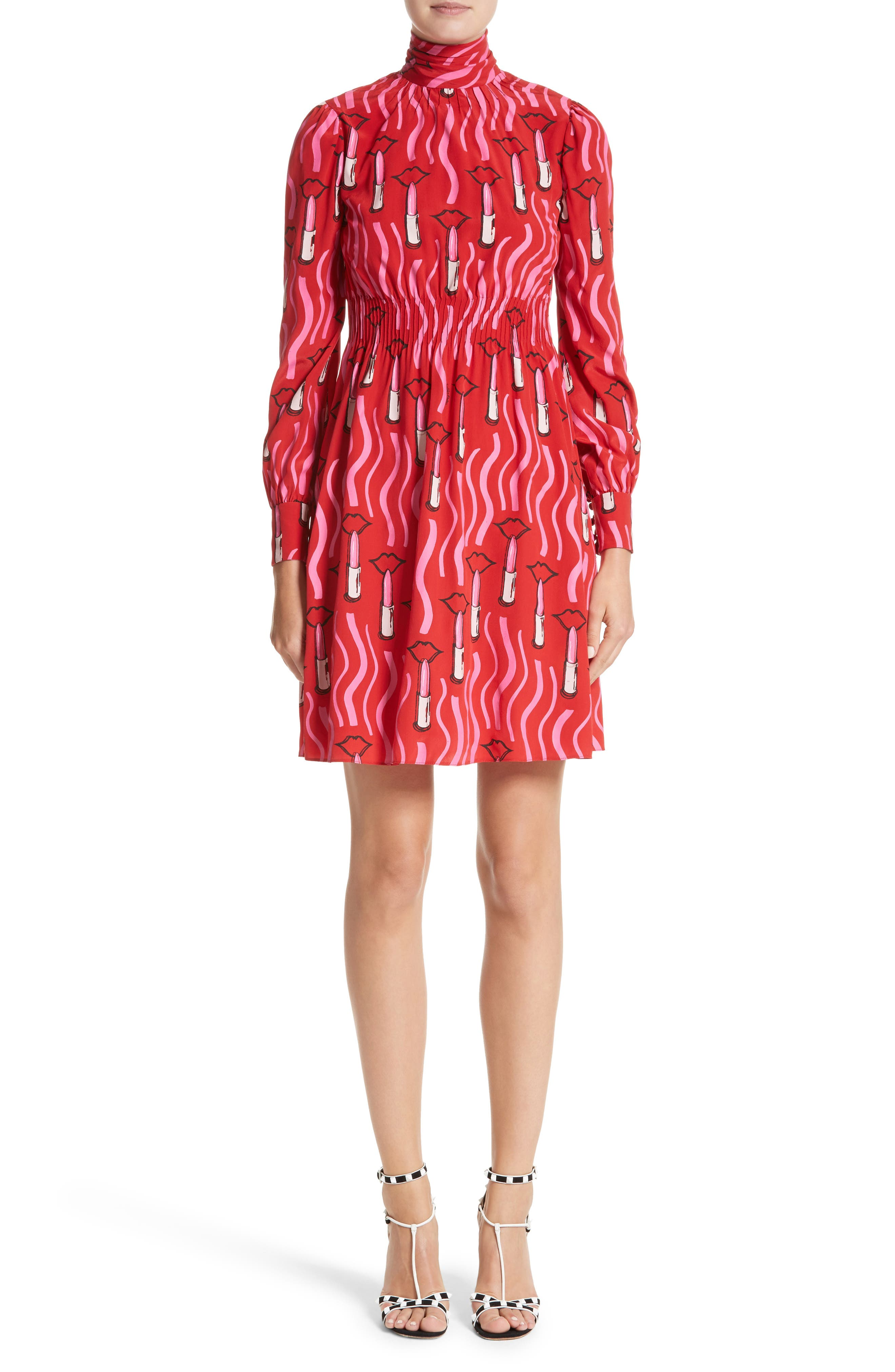 Lipstick Print Silk Fit & Flare Dress,                             Alternate thumbnail 5, color,