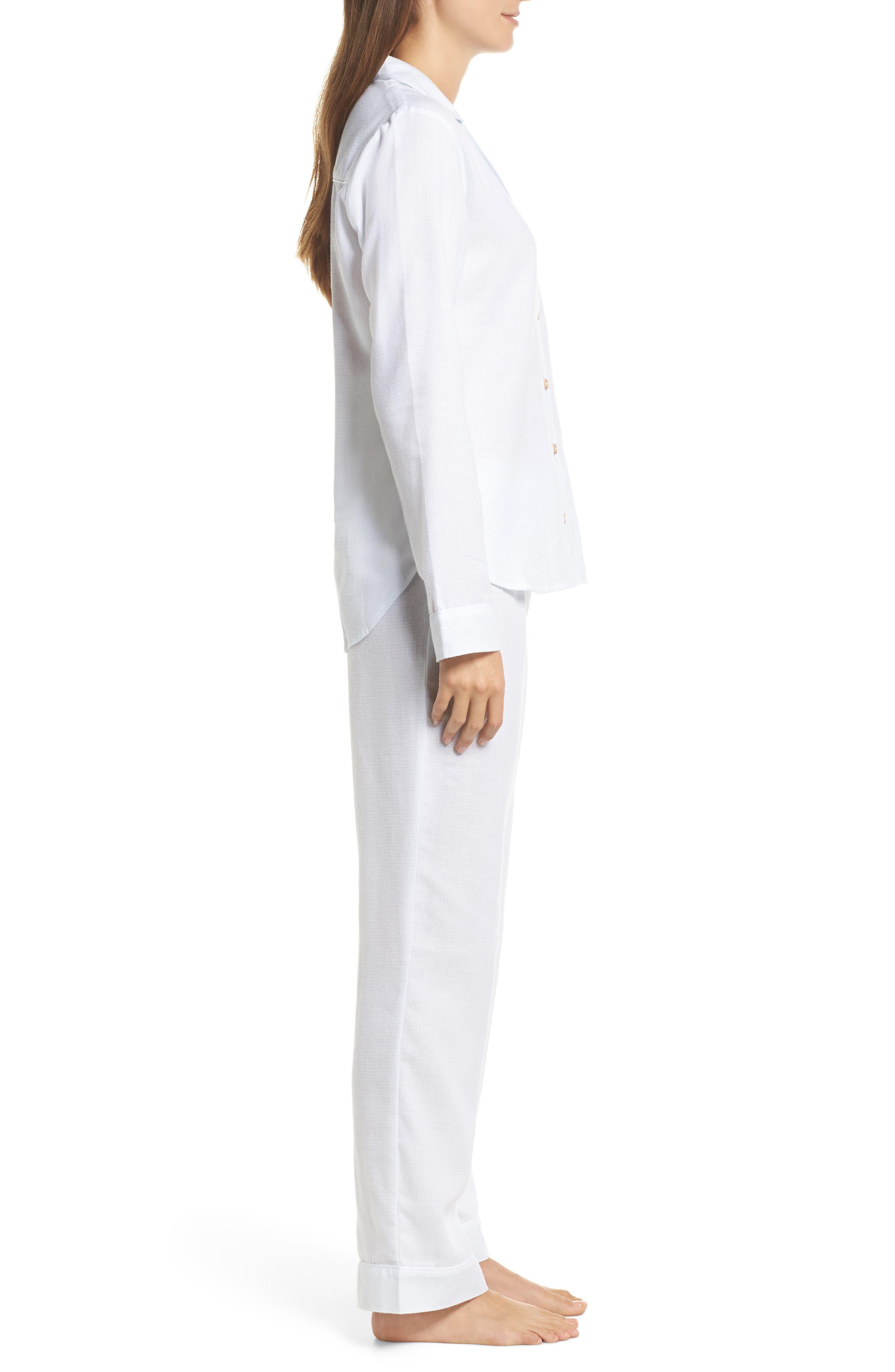 Raven Plaid Pajamas,                             Alternate thumbnail 3, color,                             WHITE / SKY BLUE CHECK