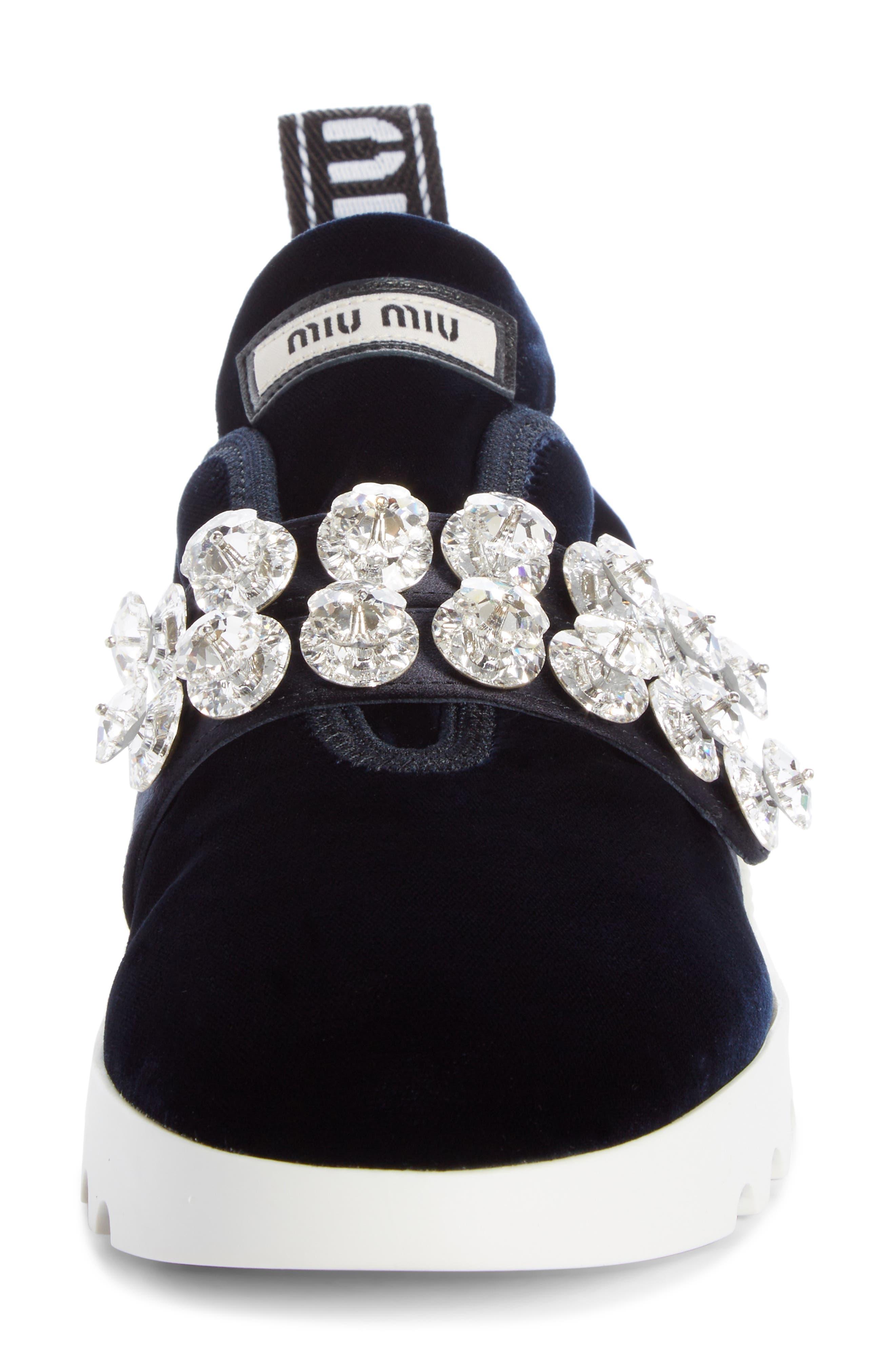 Jewel Strap Slip-On Sneaker,                             Alternate thumbnail 4, color,                             BLUE