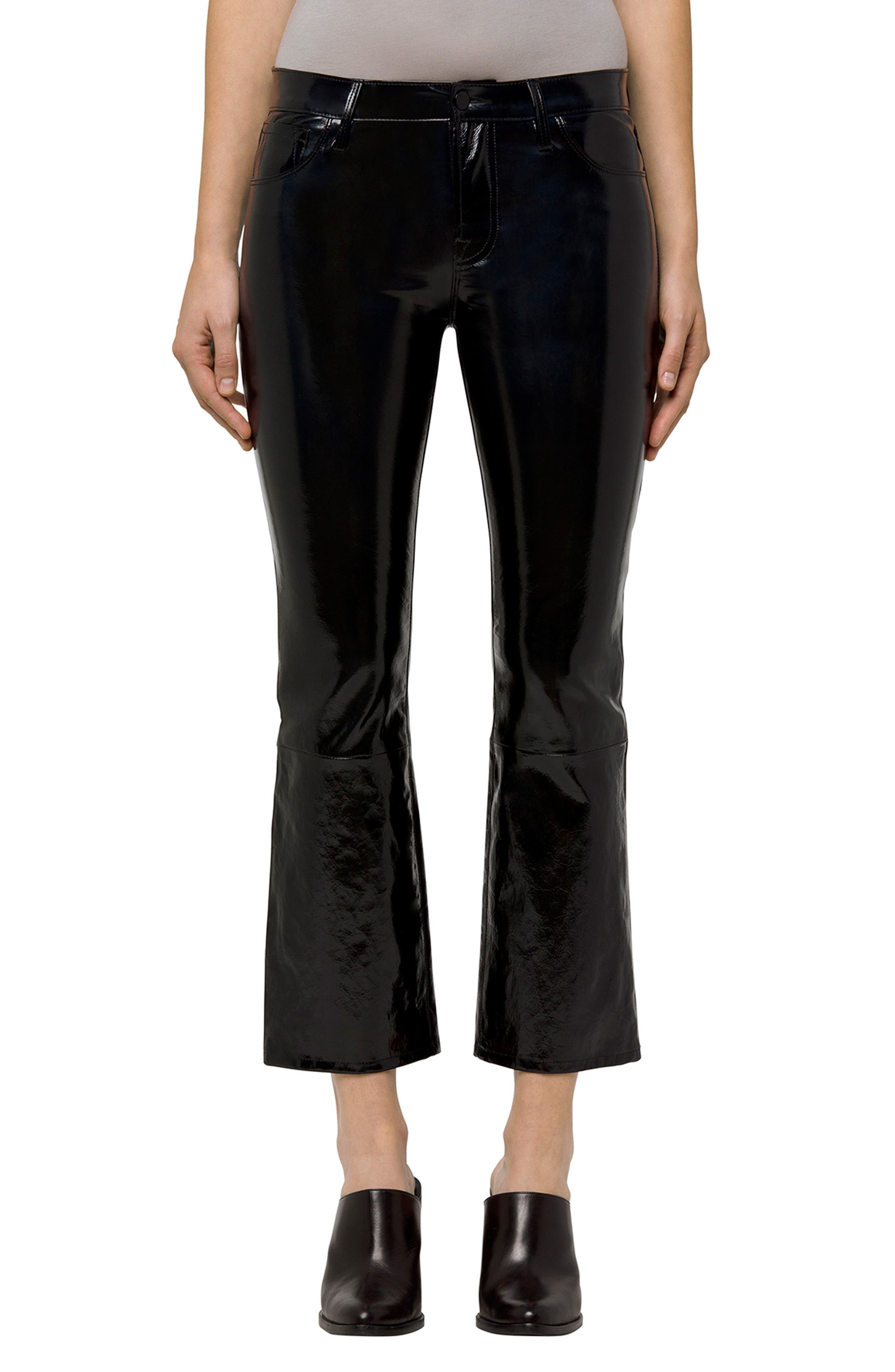 Selena Crop Bootcut Patent Leather Jeans,                             Main thumbnail 1, color,                             PATENT BLACK