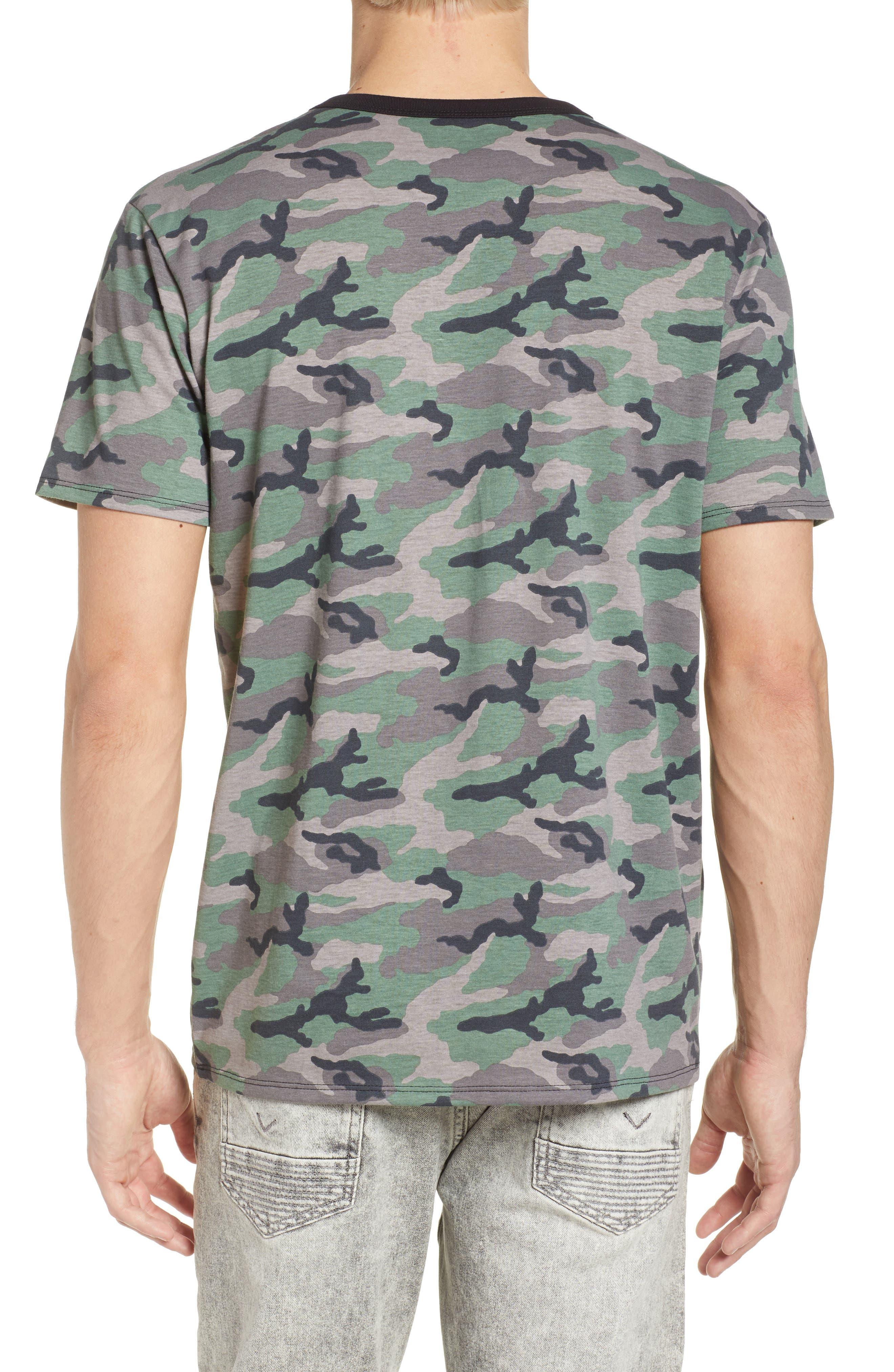 Camo Print Ringer T-Shirt,                             Alternate thumbnail 2, color,