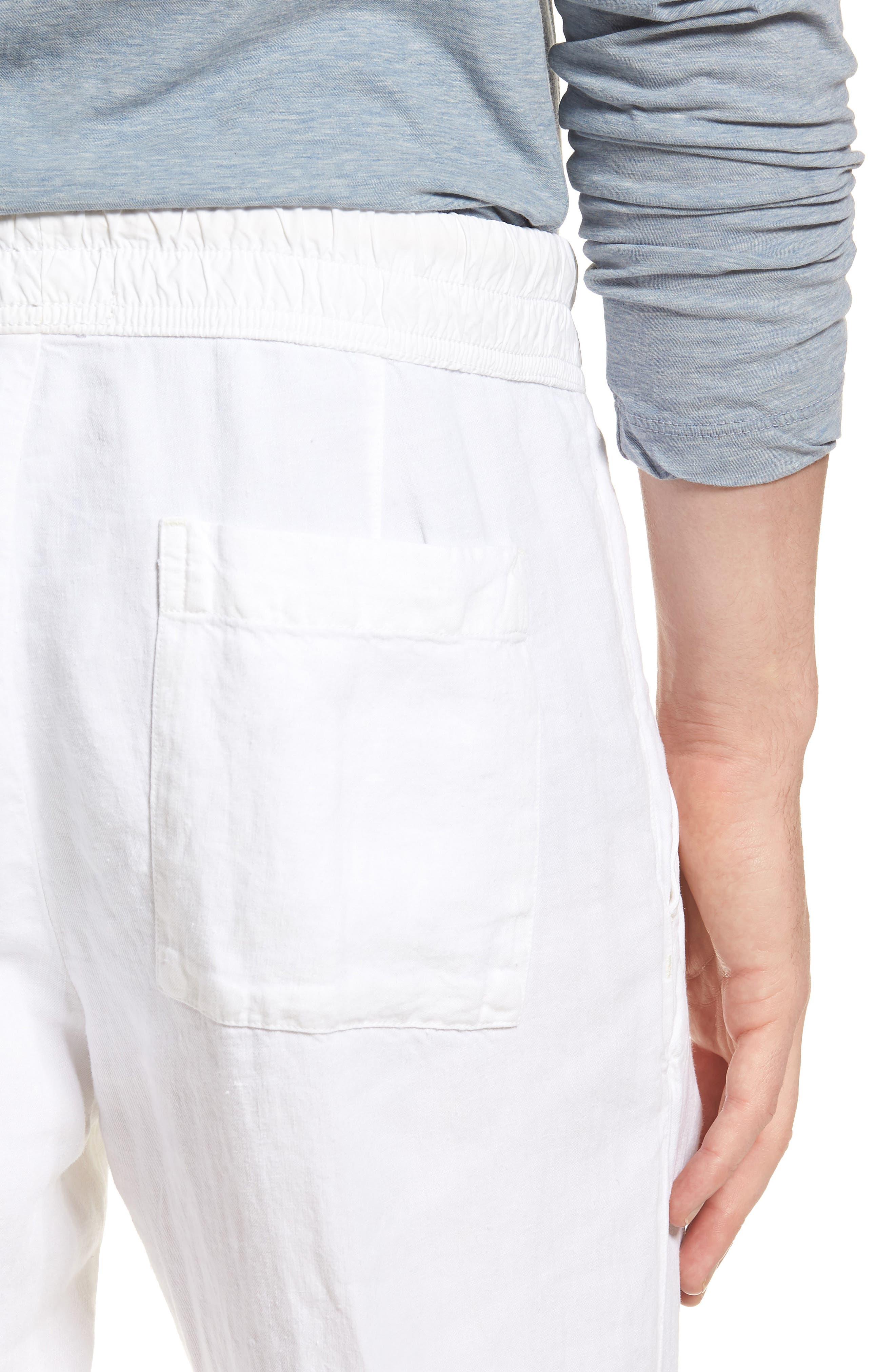Slim Fit Linen Utility Pants,                             Alternate thumbnail 4, color,                             100