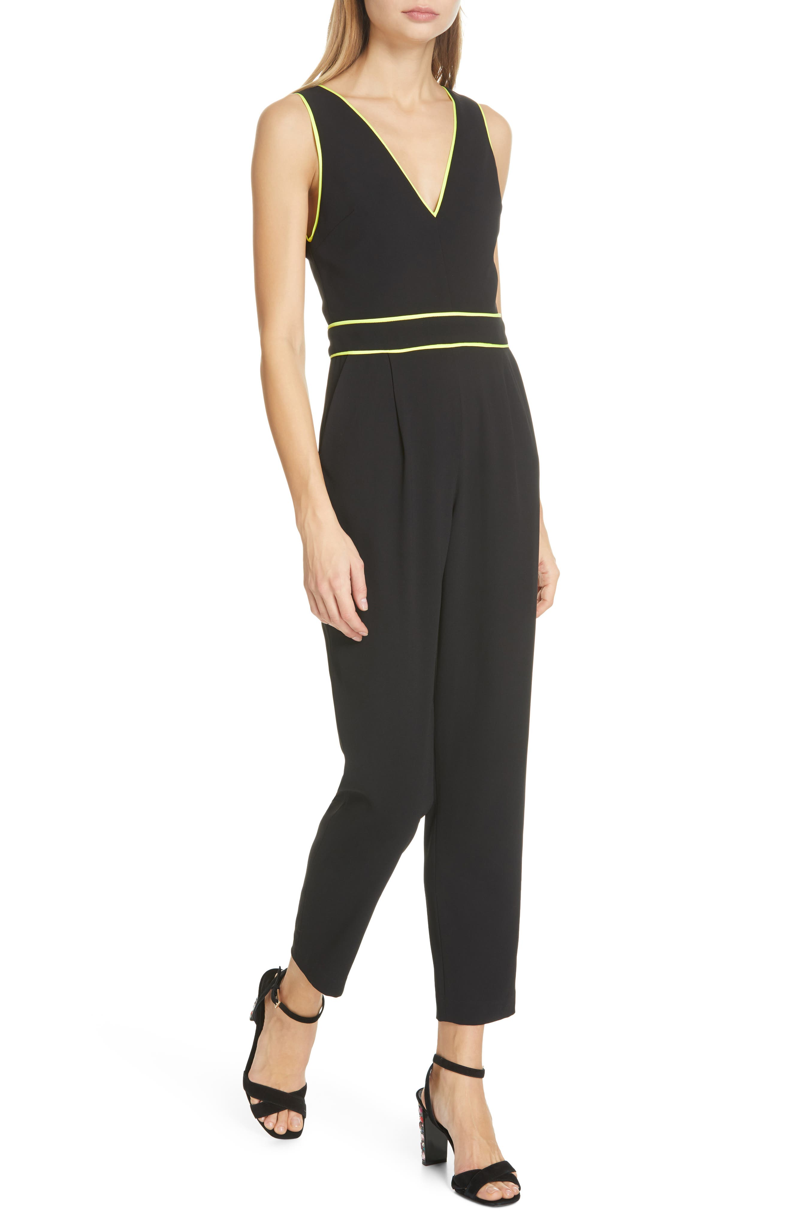 dc2d6437f74 Alice And Olivia Alice + Olivia Jeri Piped Jumpsuit In Black Neon Yellow