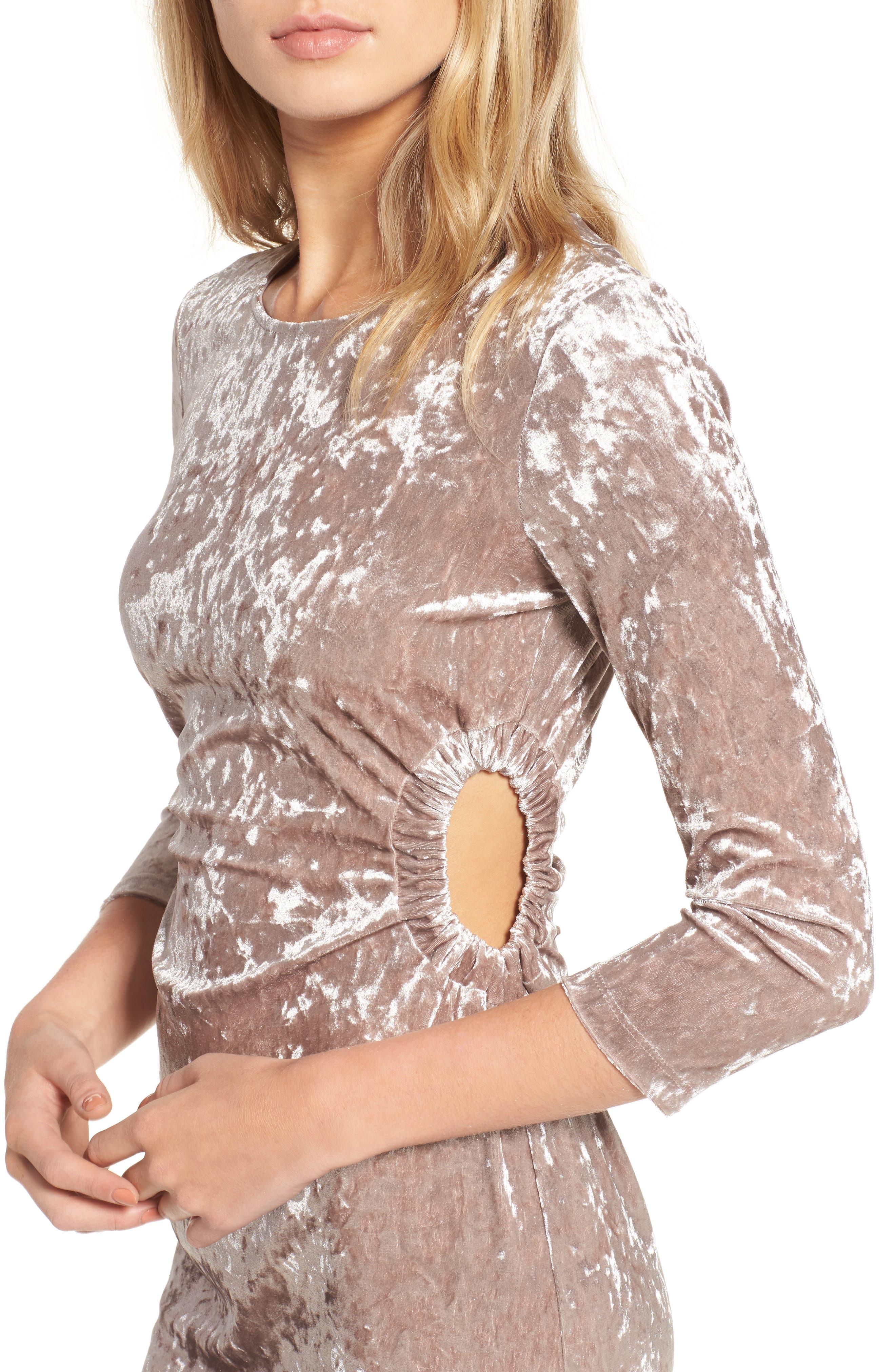 Cutout Velvet Dress,                             Alternate thumbnail 4, color,                             021