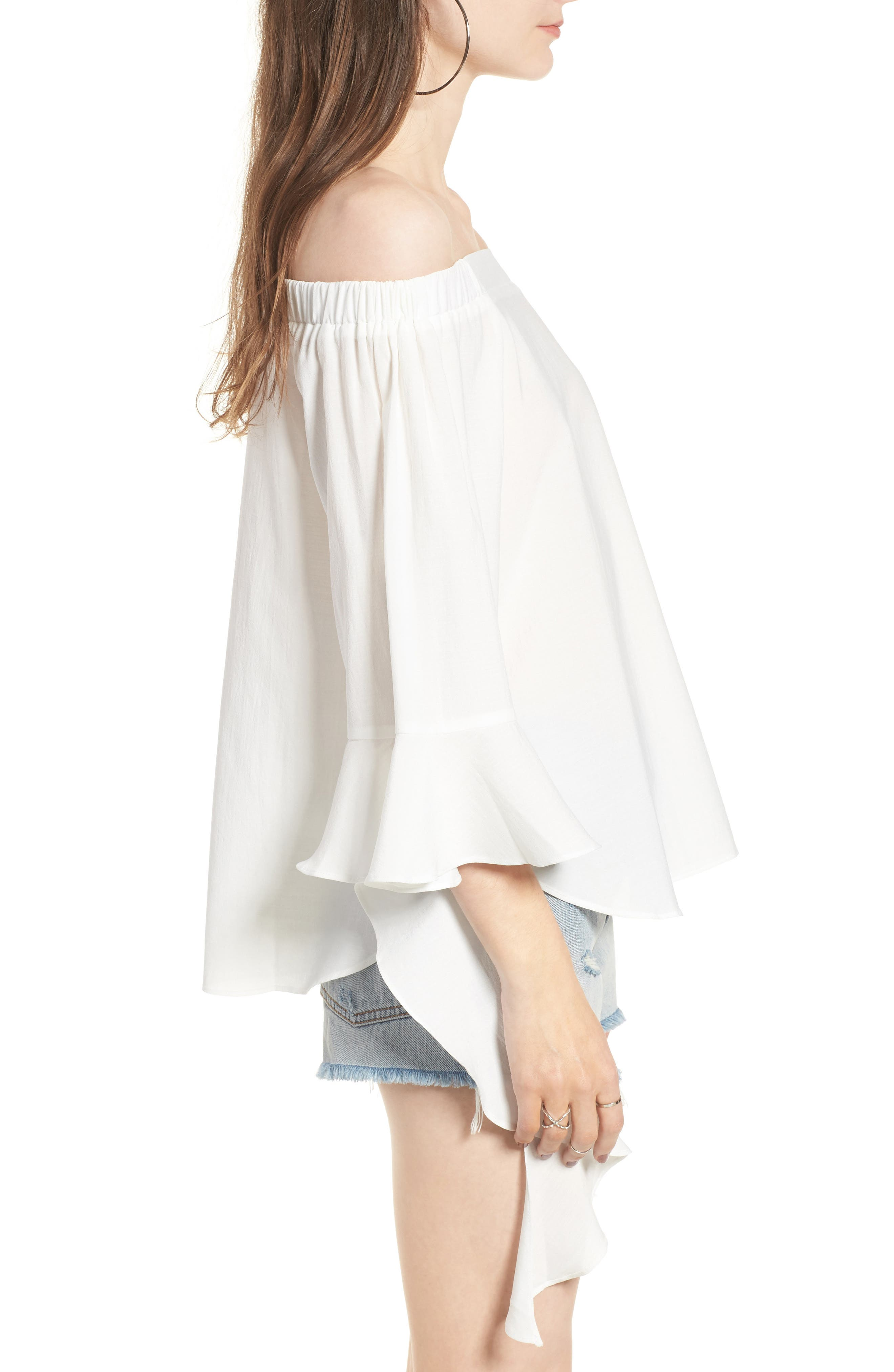 Flare Sleeve Off the Shoulder Blouse,                             Alternate thumbnail 3, color,                             100