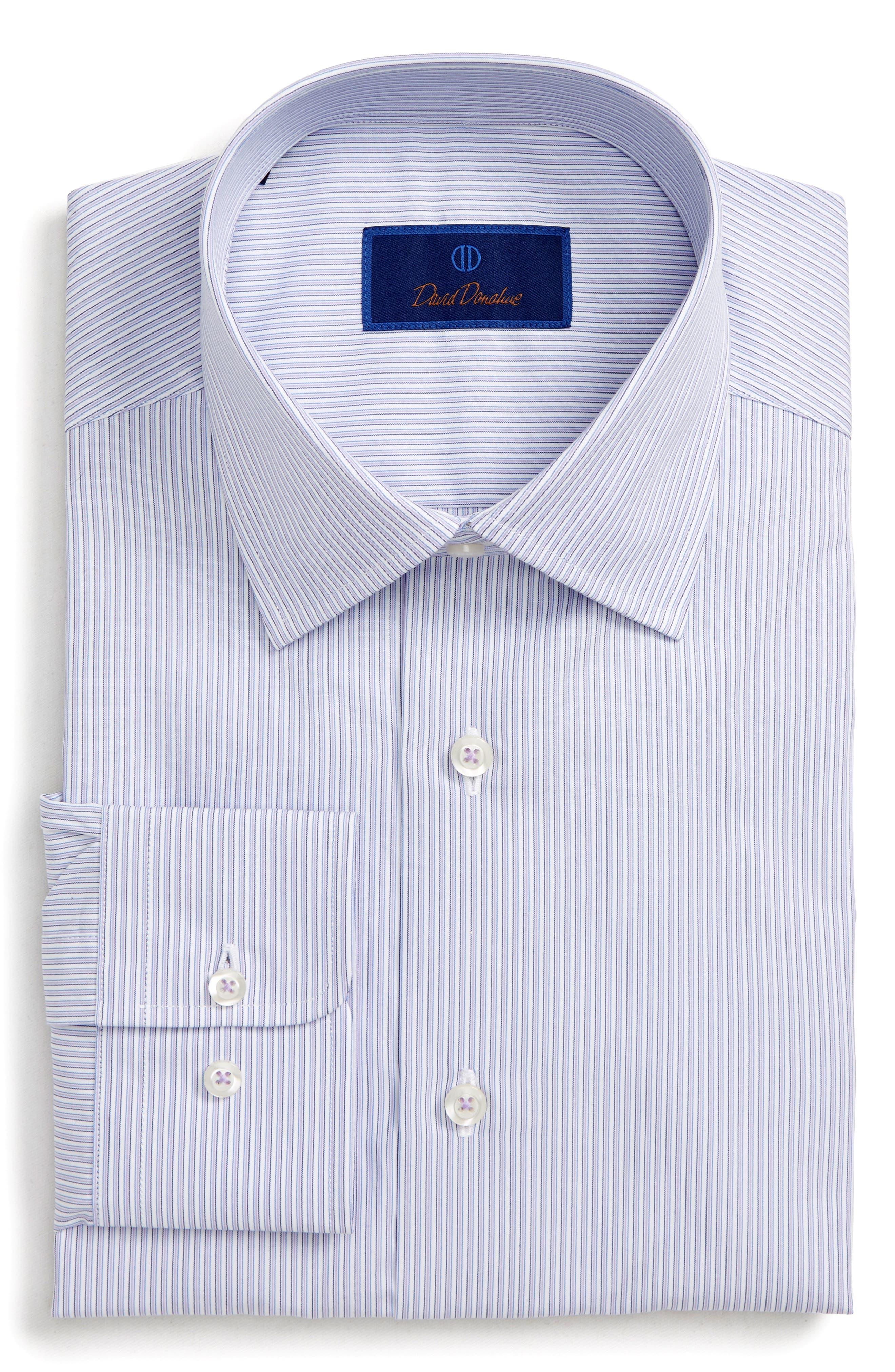 DAVID DONAHUE Men'S Regular-Fit Framed Stripe Dress Shirt in Lilac