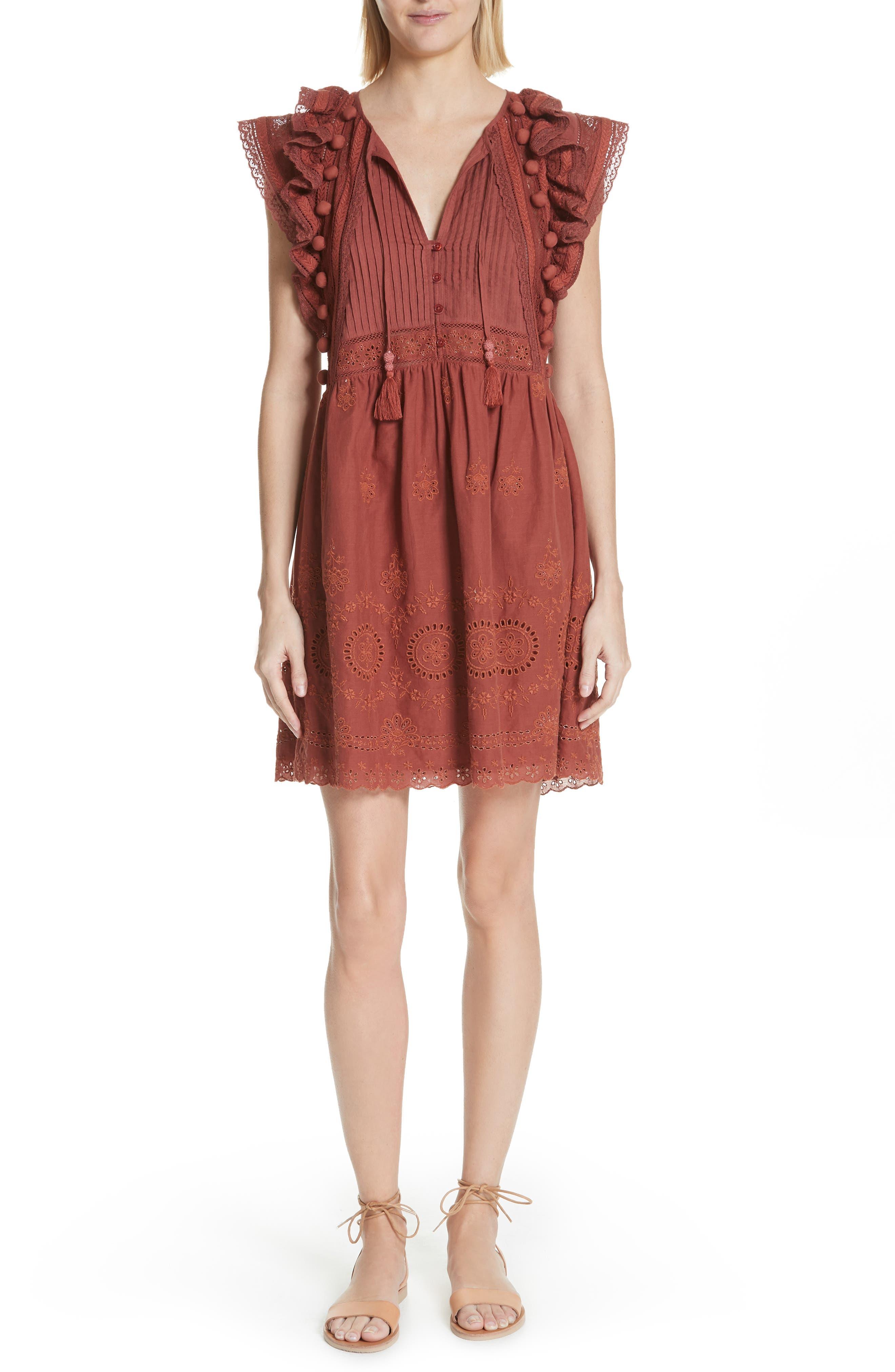 Sofie Lace & Pompom Dress,                         Main,                         color, CLAY