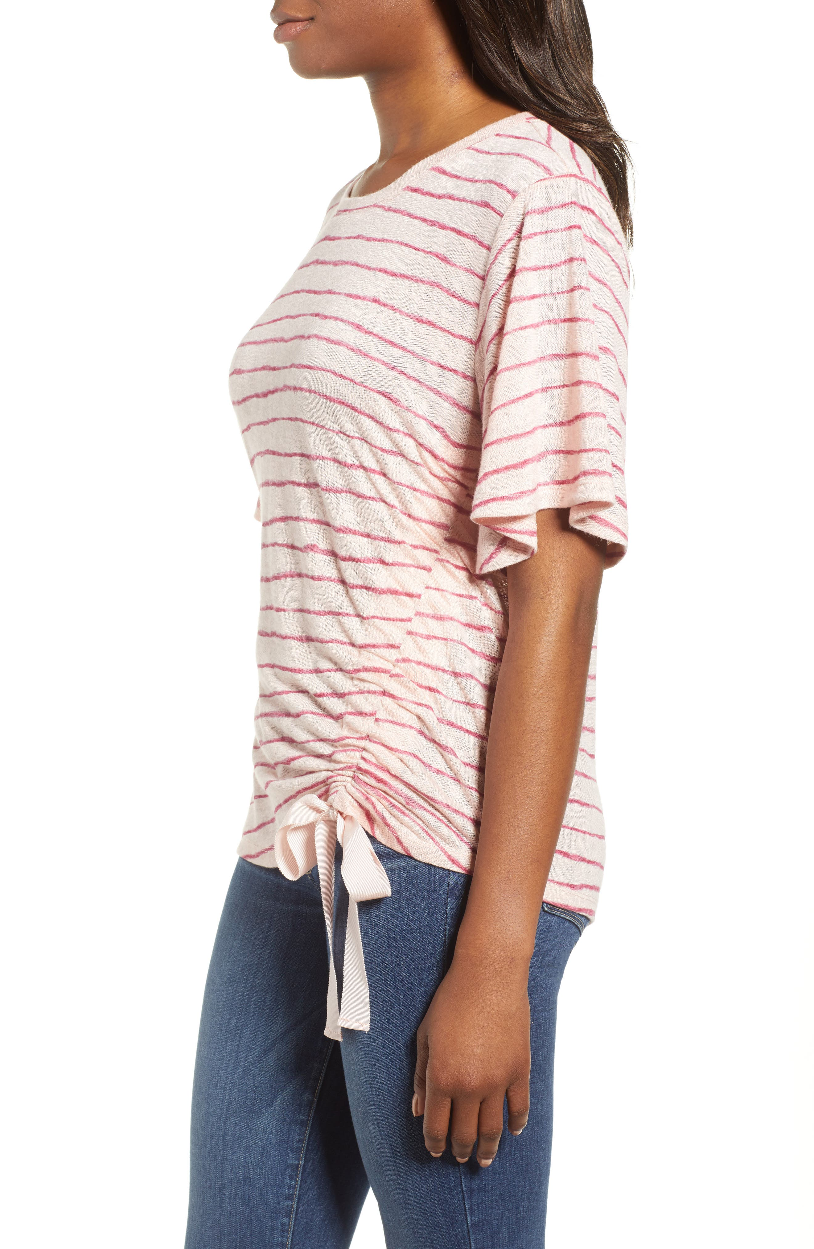 Ruched Side Ribbon Tee,                             Alternate thumbnail 7, color,
