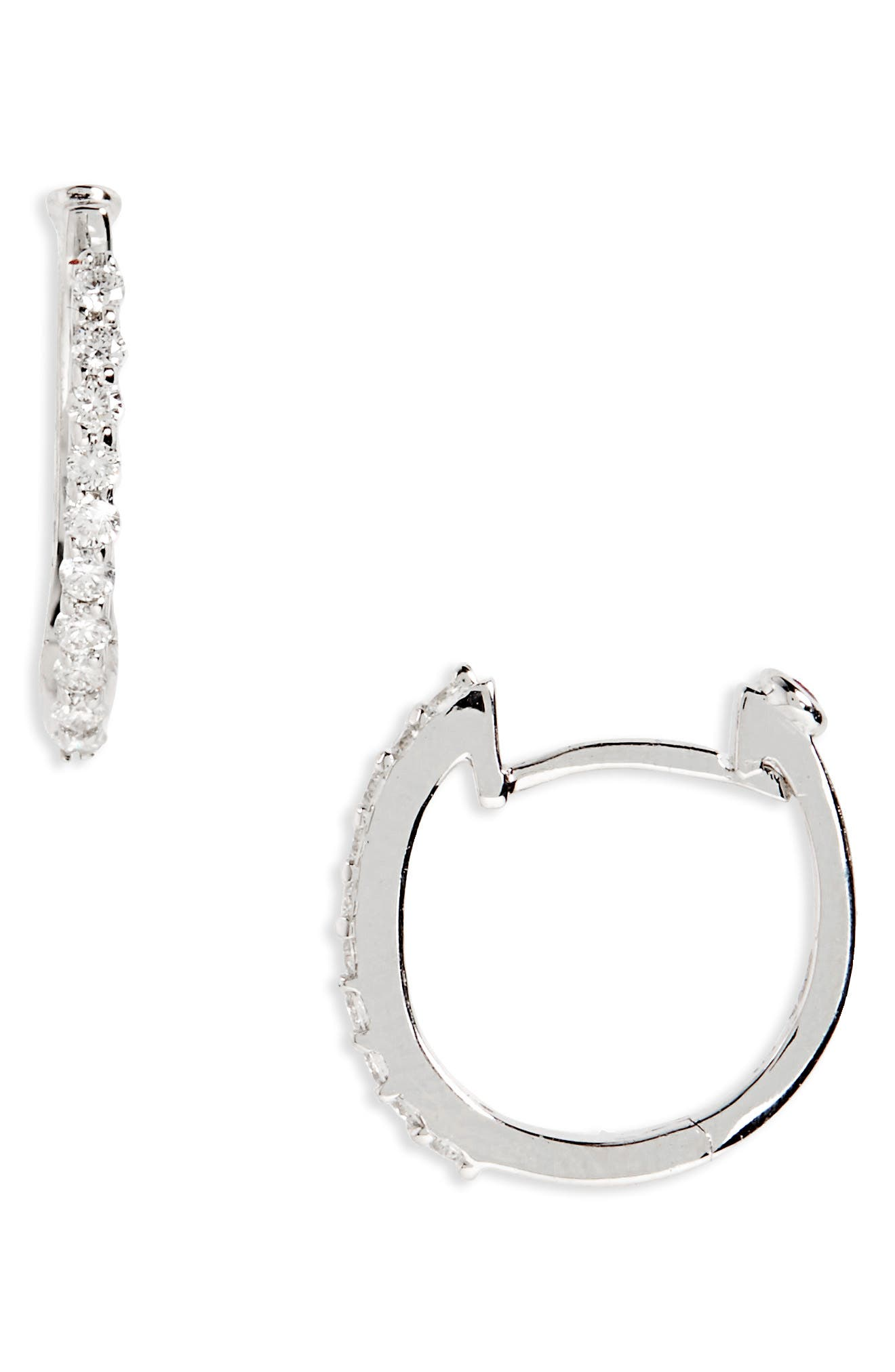 Small Diamond Hoop Earrings,                             Alternate thumbnail 2, color,                             711