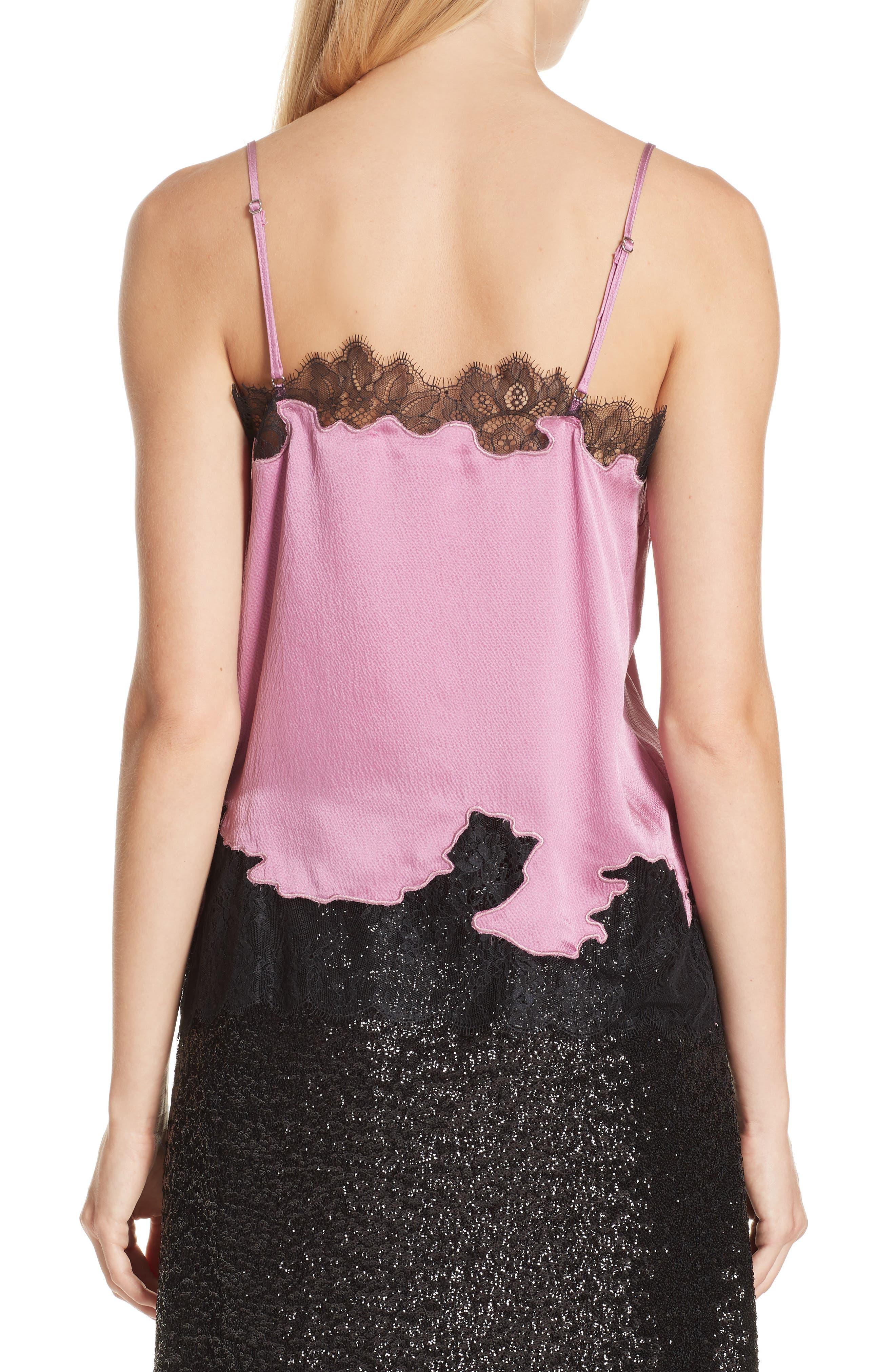 Lace Trim Silk Camisole,                             Main thumbnail 1, color,                             VINTAGE ROSE