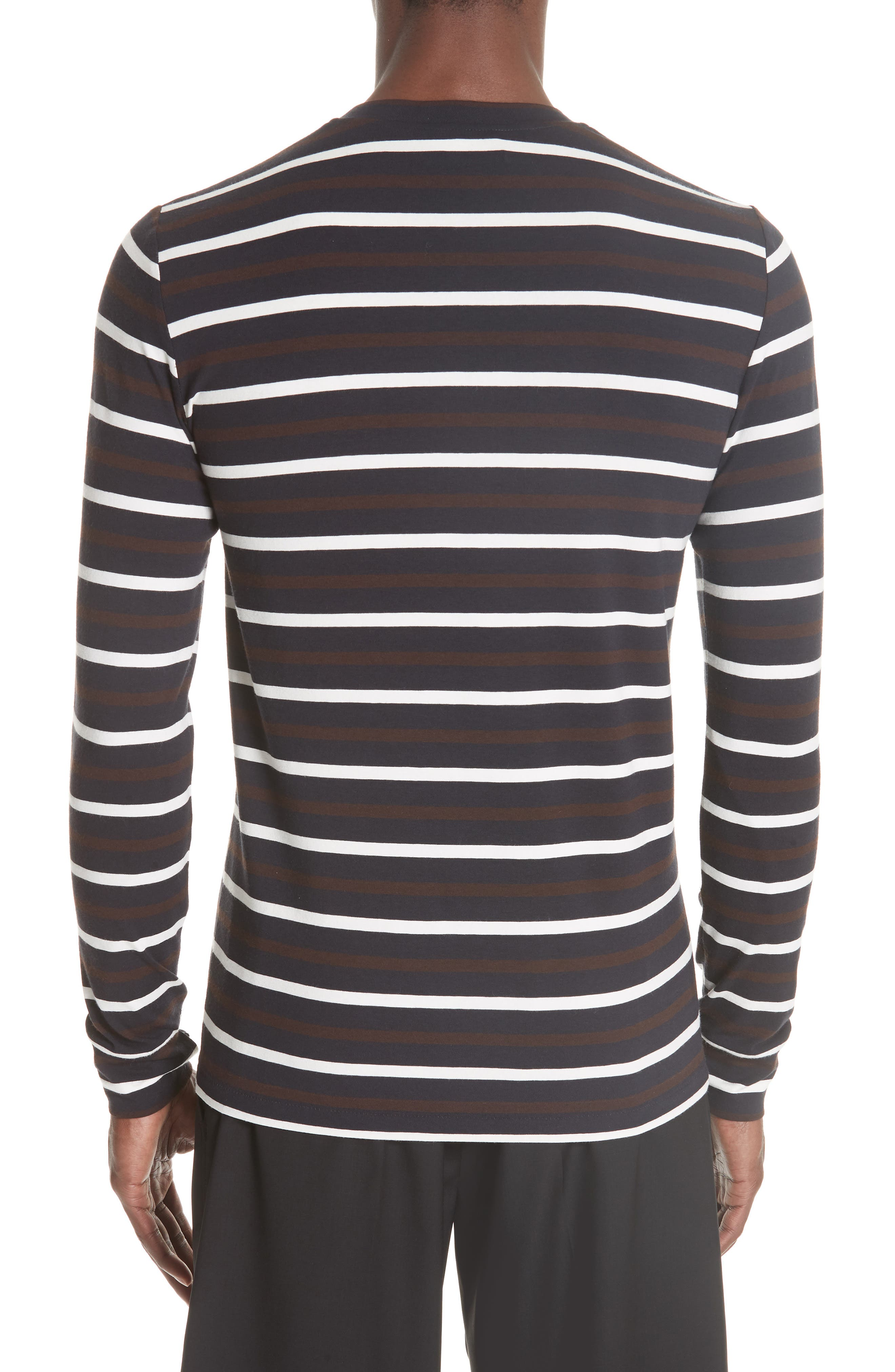 Technical Stripe Long Sleeve T-Shirt,                             Alternate thumbnail 2, color,                             BROWN