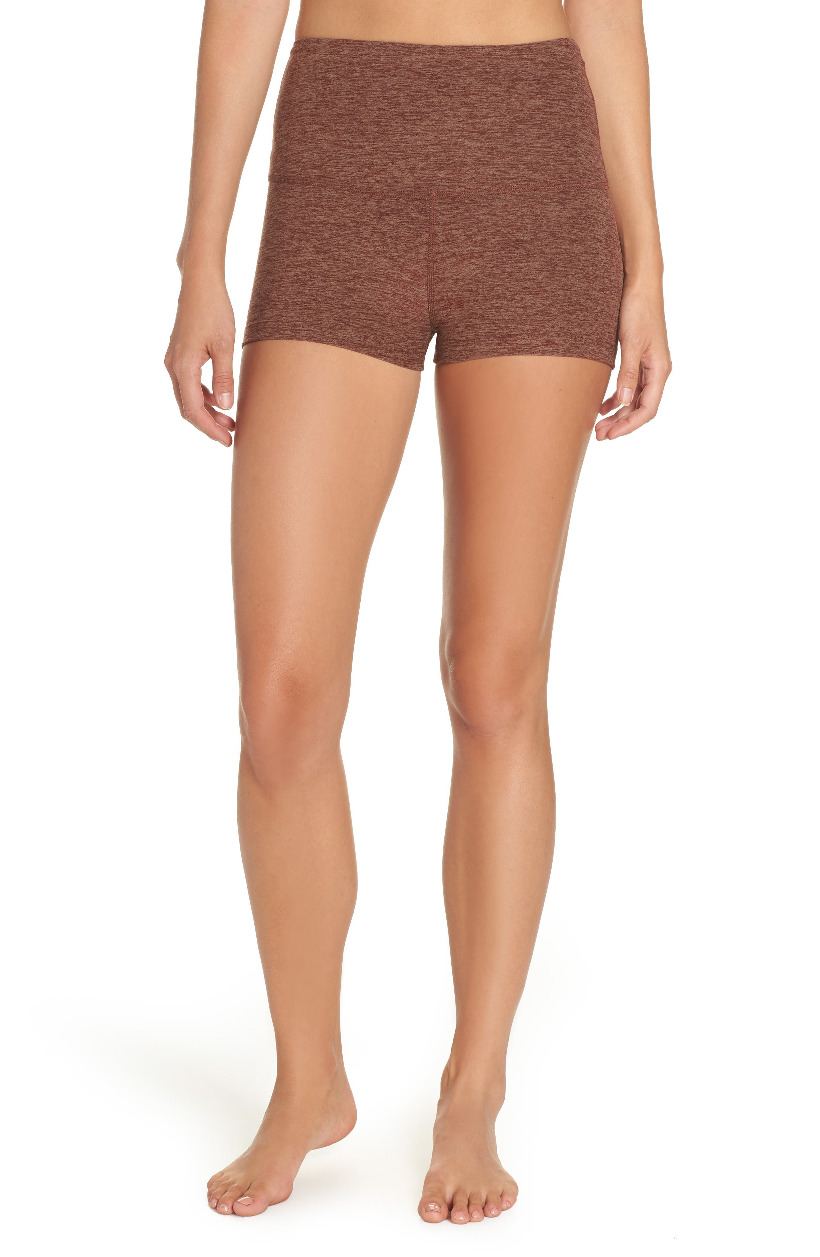 Space Dye Circuit High Waist Shorts,                         Main,                         color, RED ROCK/ TUMBLEWEED