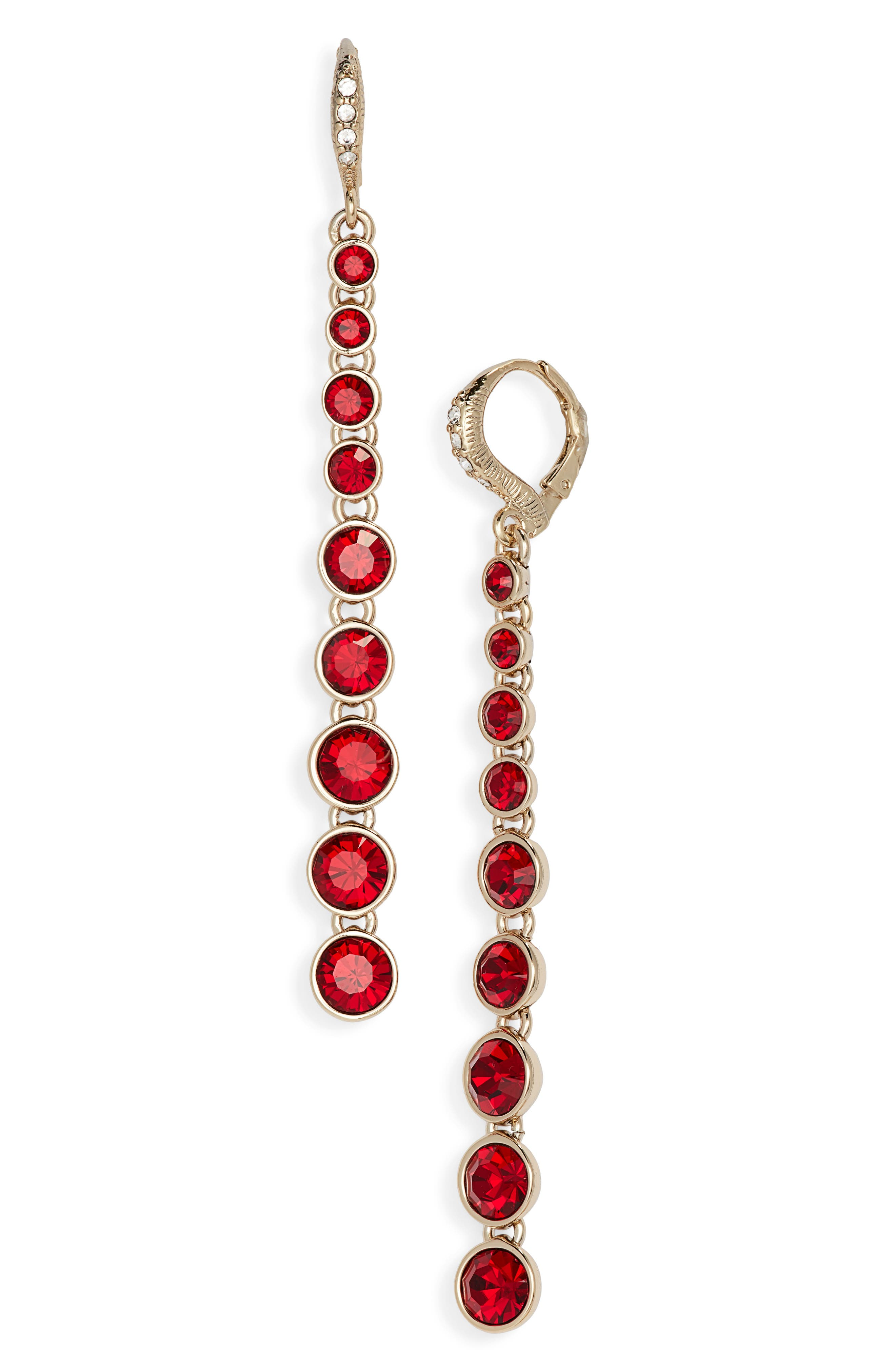 Linear Earrings,                             Main thumbnail 1, color,                             RED/ GOLD