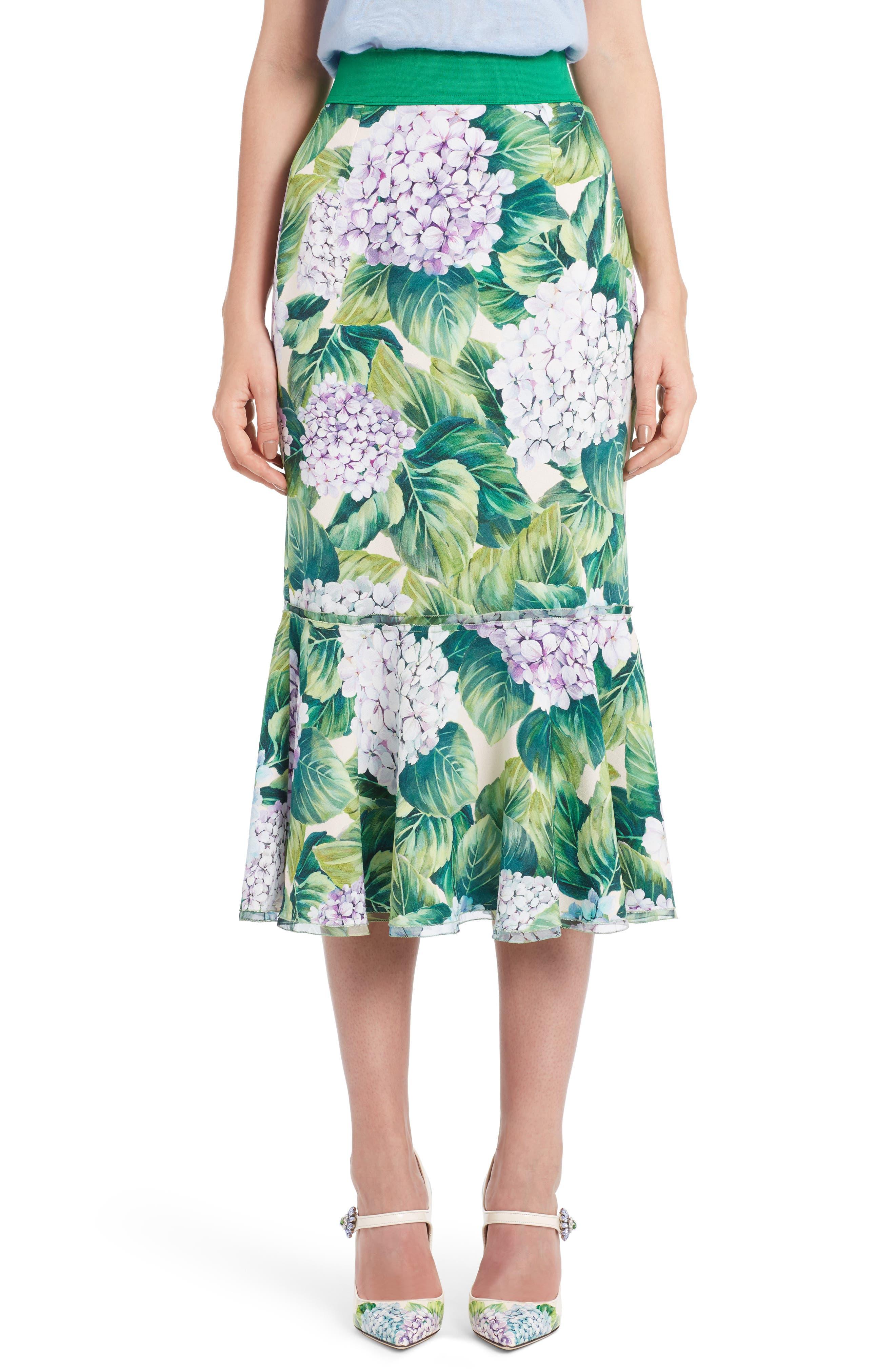 Hydrangea Print Ruffle Hem Skirt,                             Main thumbnail 1, color,                             300