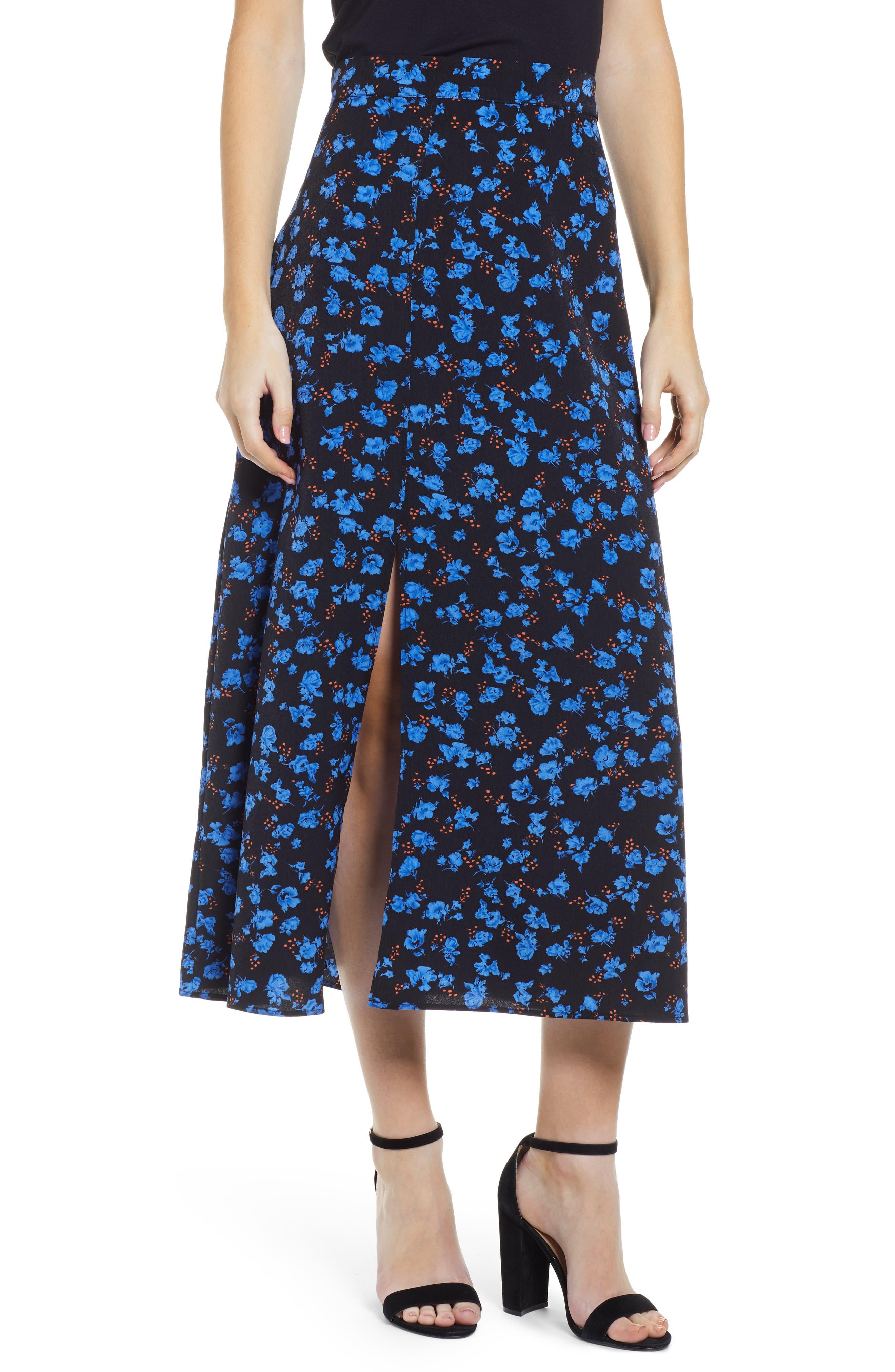 Prima Floral Print Midi Skirt, Blue