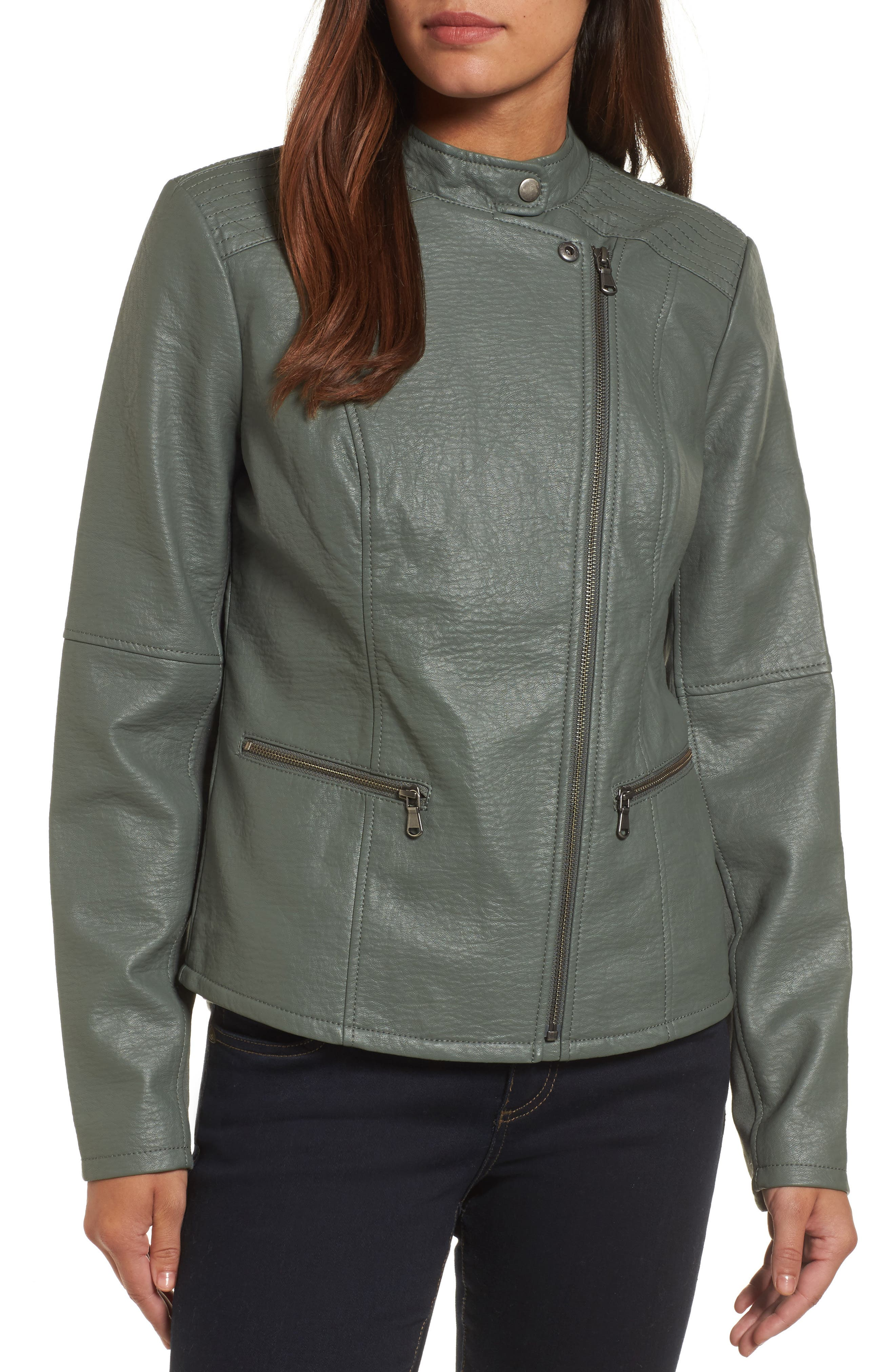 City Chic Faux Leather Jacket,                             Alternate thumbnail 4, color,                             374