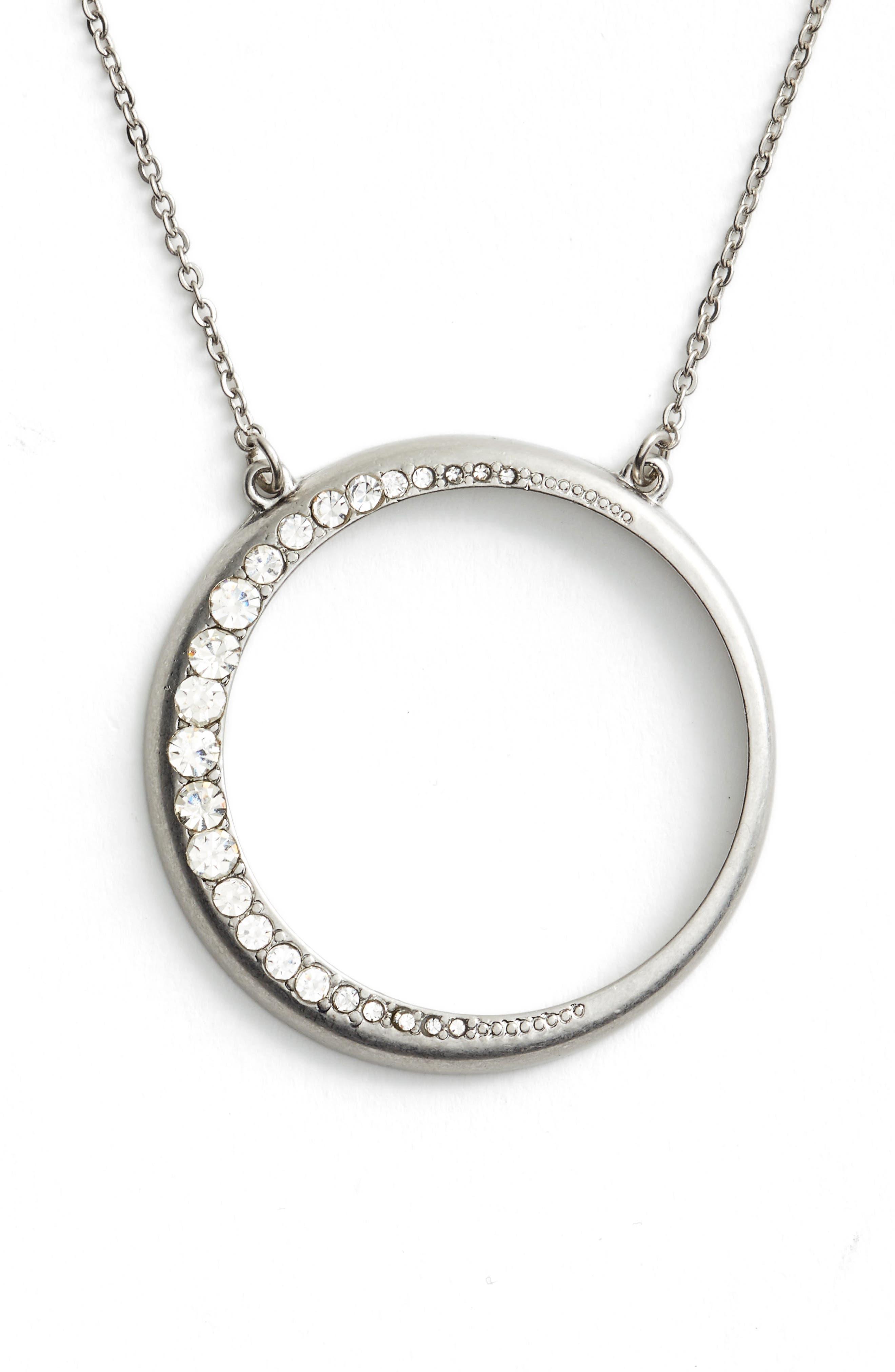 Open Circle Pendant Necklace,                             Main thumbnail 1, color,