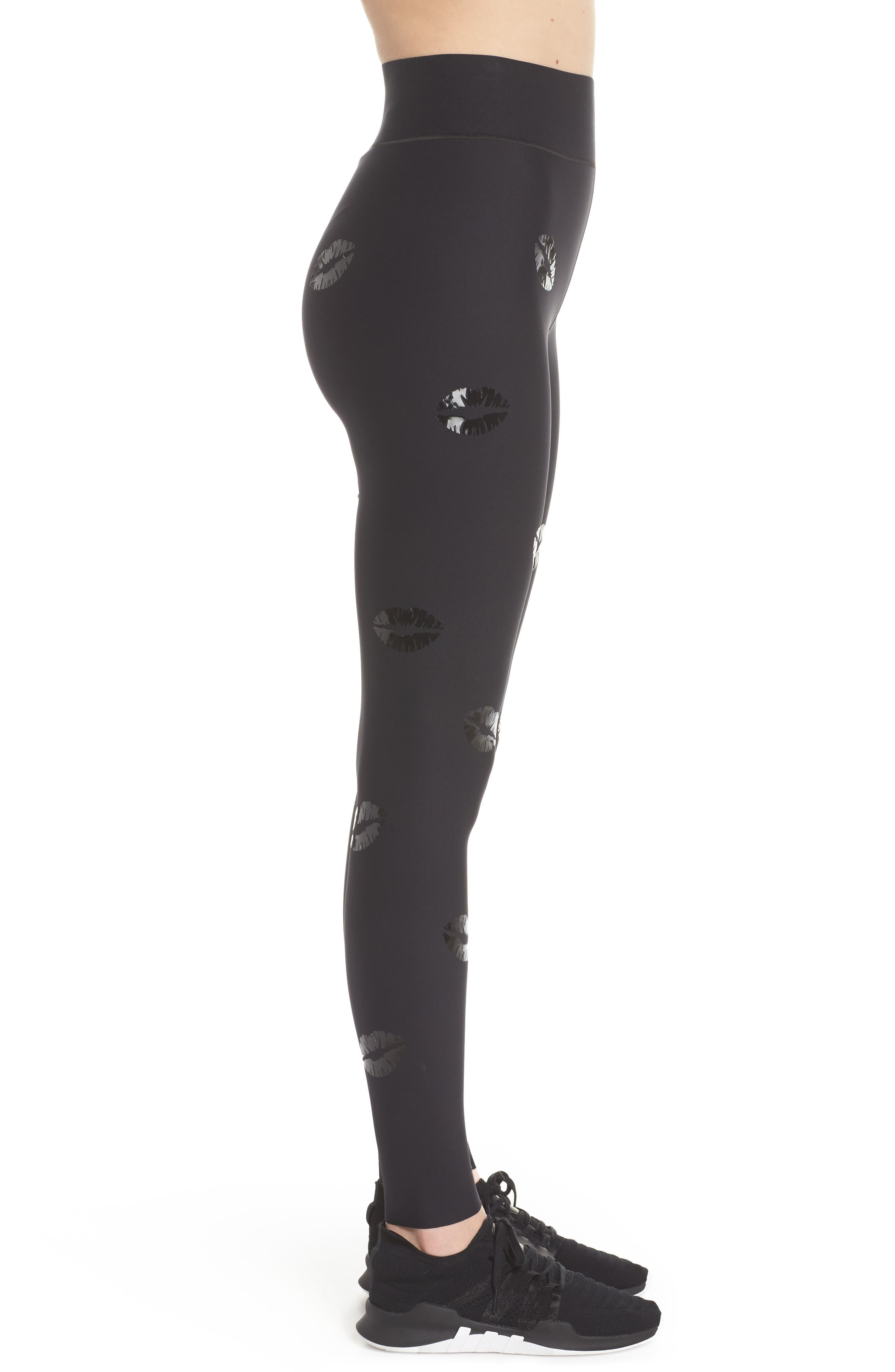 Make Out Lux High Waist Leggings,                             Alternate thumbnail 3, color,                             002
