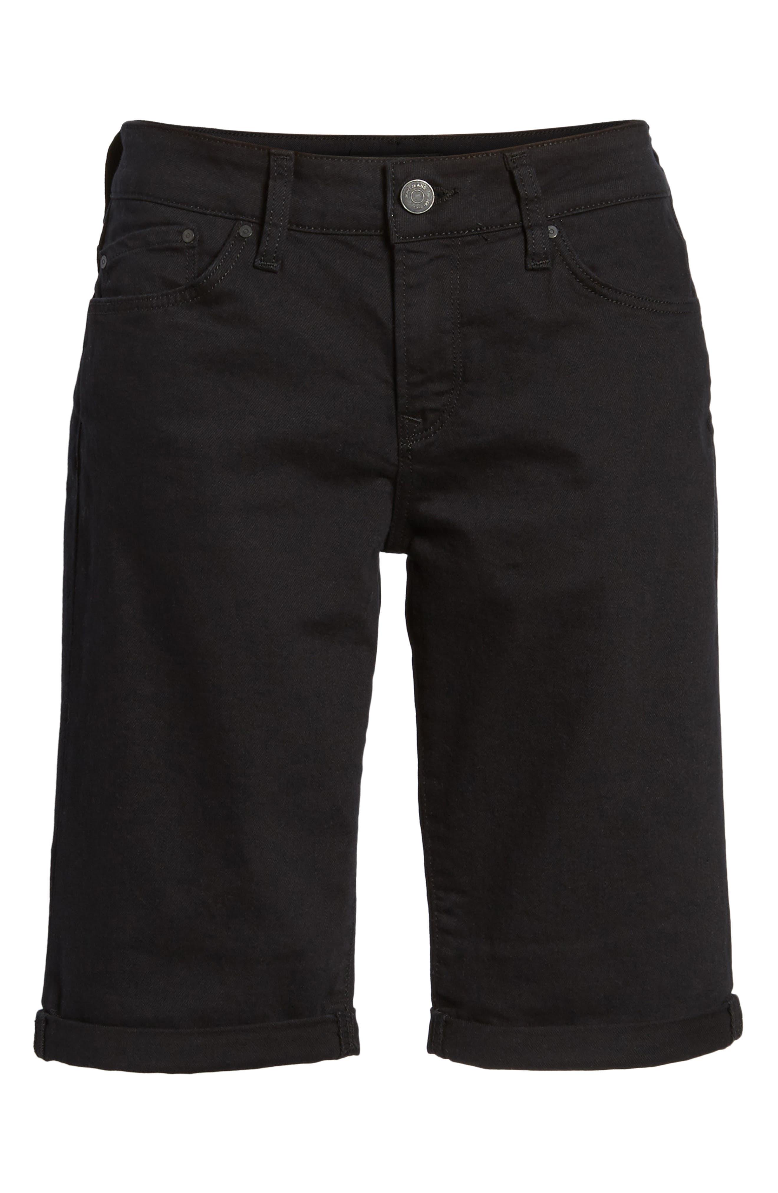 Karly Black Nolita Roll Cuff Bermuda Shorts,                             Alternate thumbnail 6, color,                             001