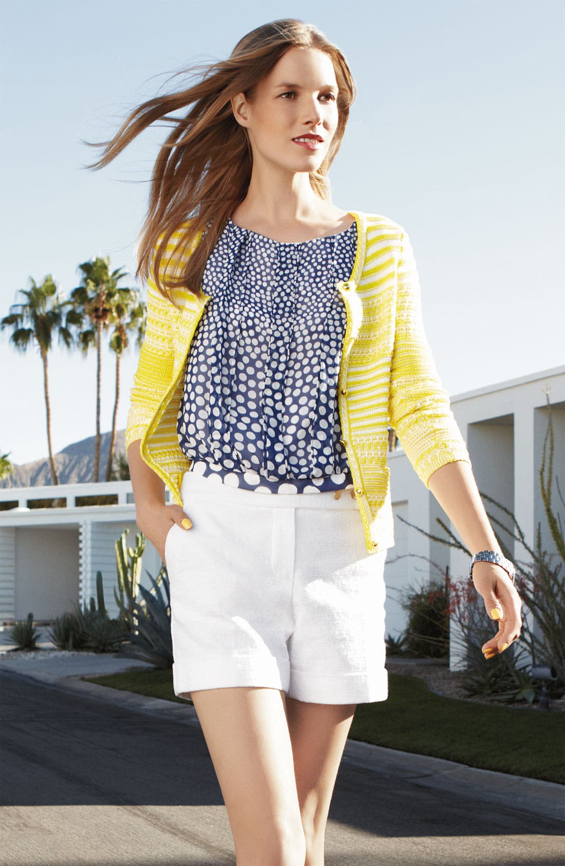 'Kaspie' Pleated Polka Dot Blouson Top,                             Alternate thumbnail 2, color,                             483