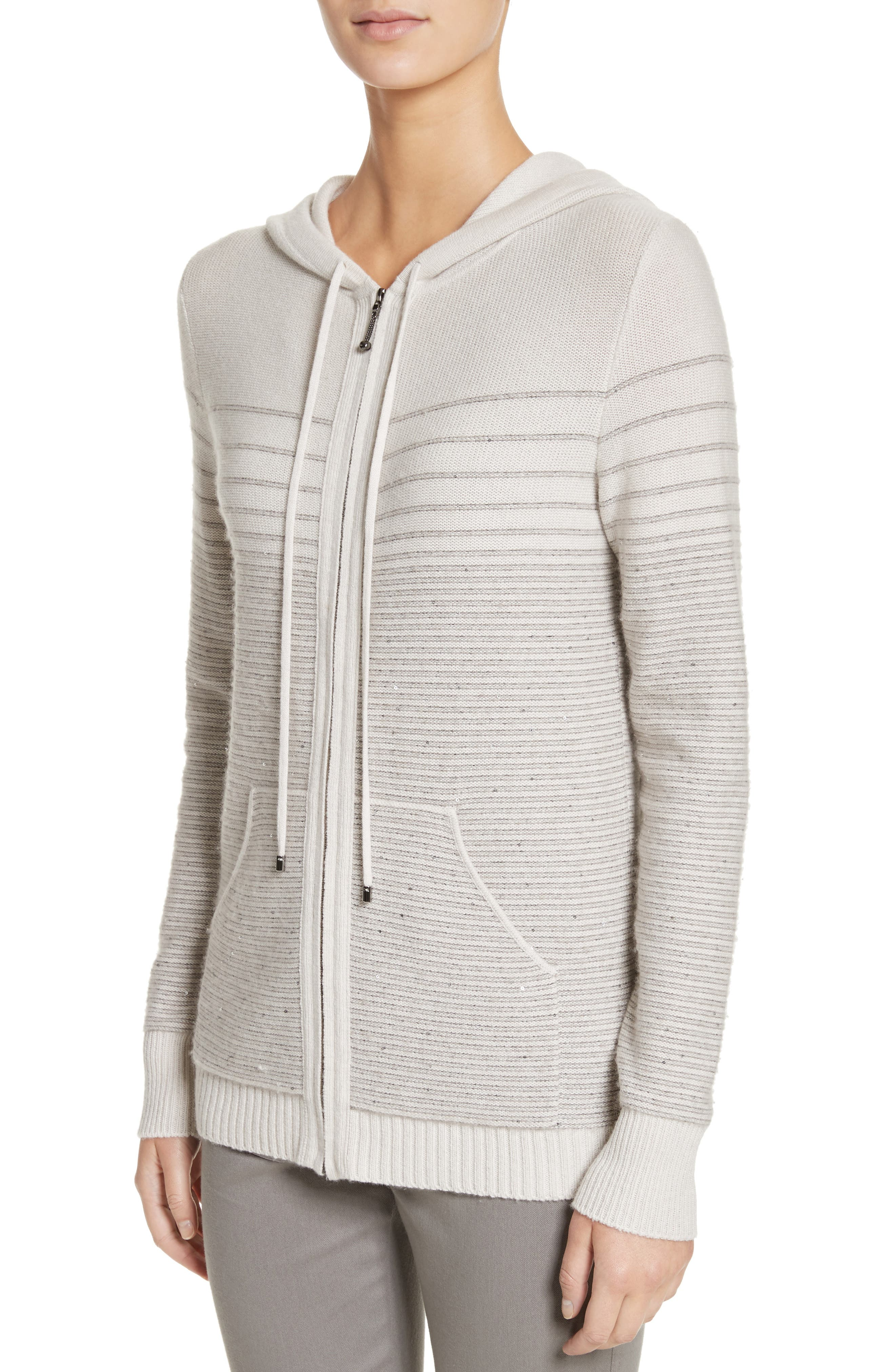 Micro Sequined Textured Stitch Knit Hoodie,                             Alternate thumbnail 4, color,                             270