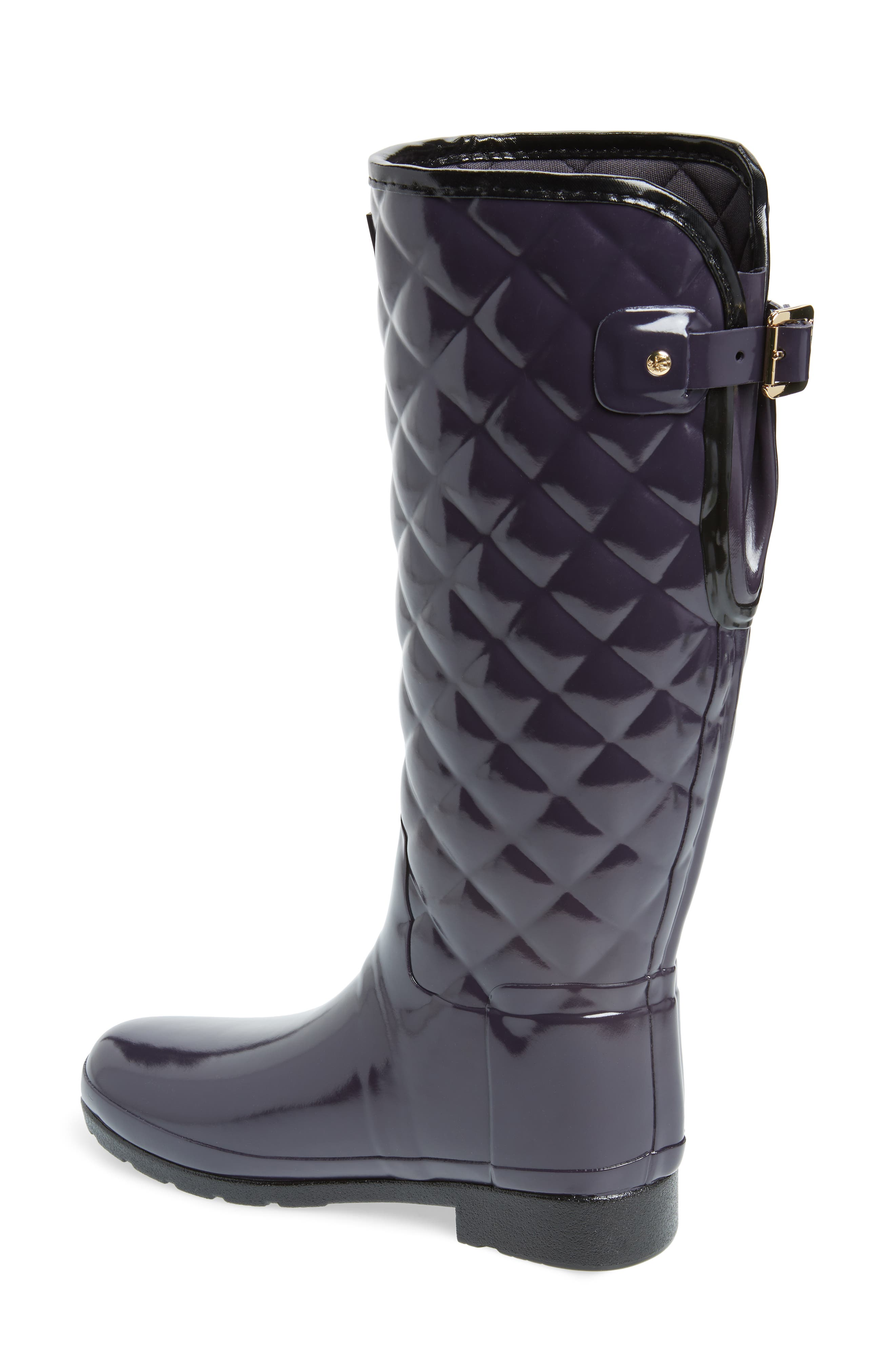 Original Refined High Gloss Quilted Waterproof Rain Boot,                             Alternate thumbnail 2, color,                             AUBERGINE