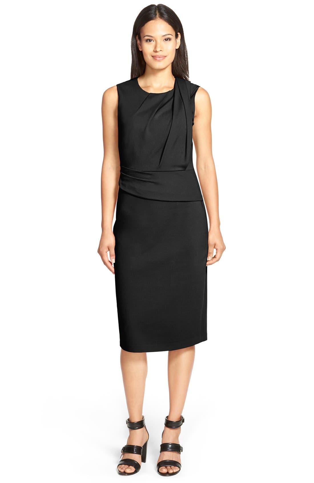 'Ava' Drape Detail Double Knit Dress,                         Main,                         color, 001