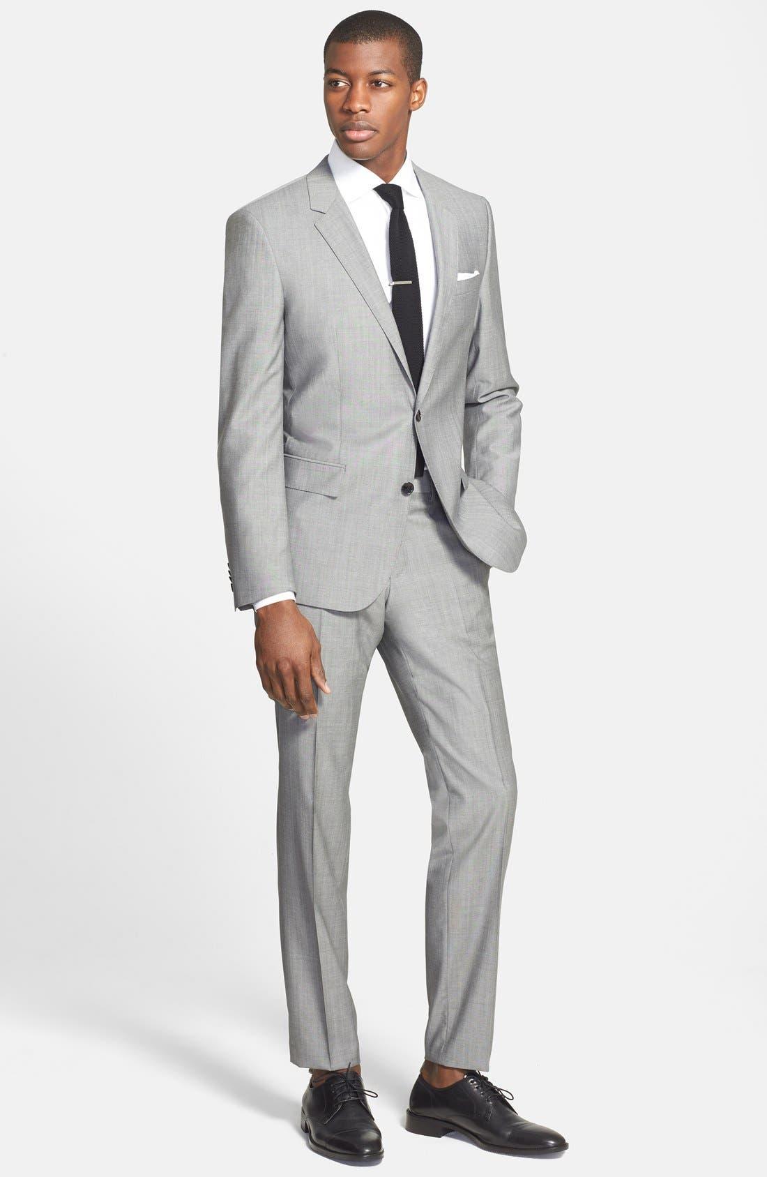 'Huge/Genius' Trim Fit Solid Wool Suit,                             Alternate thumbnail 15, color,                             PEARL GREY