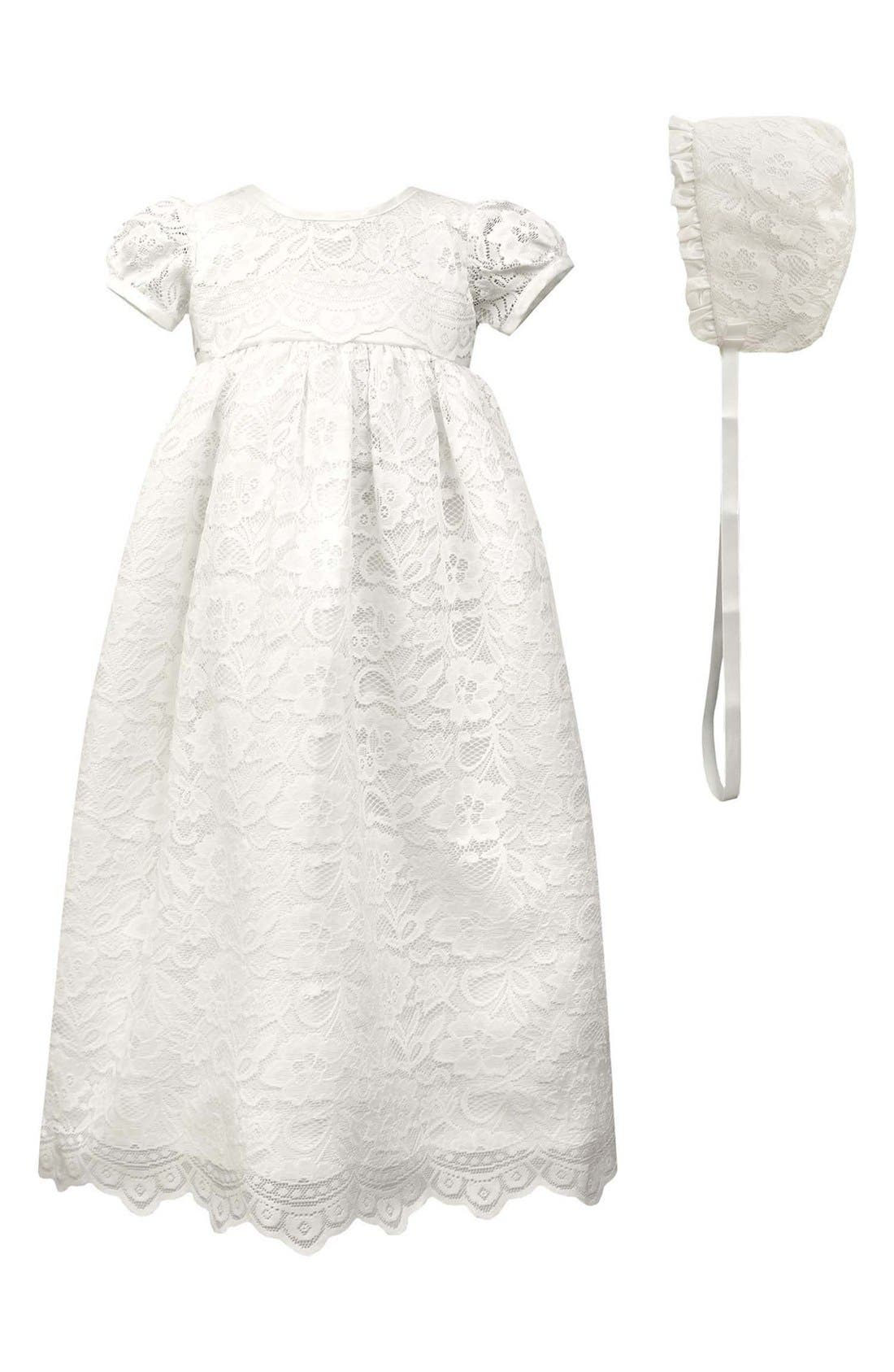 Scalloped Lace Christening Gown & Bonnet,                         Main,                         color, WHITE