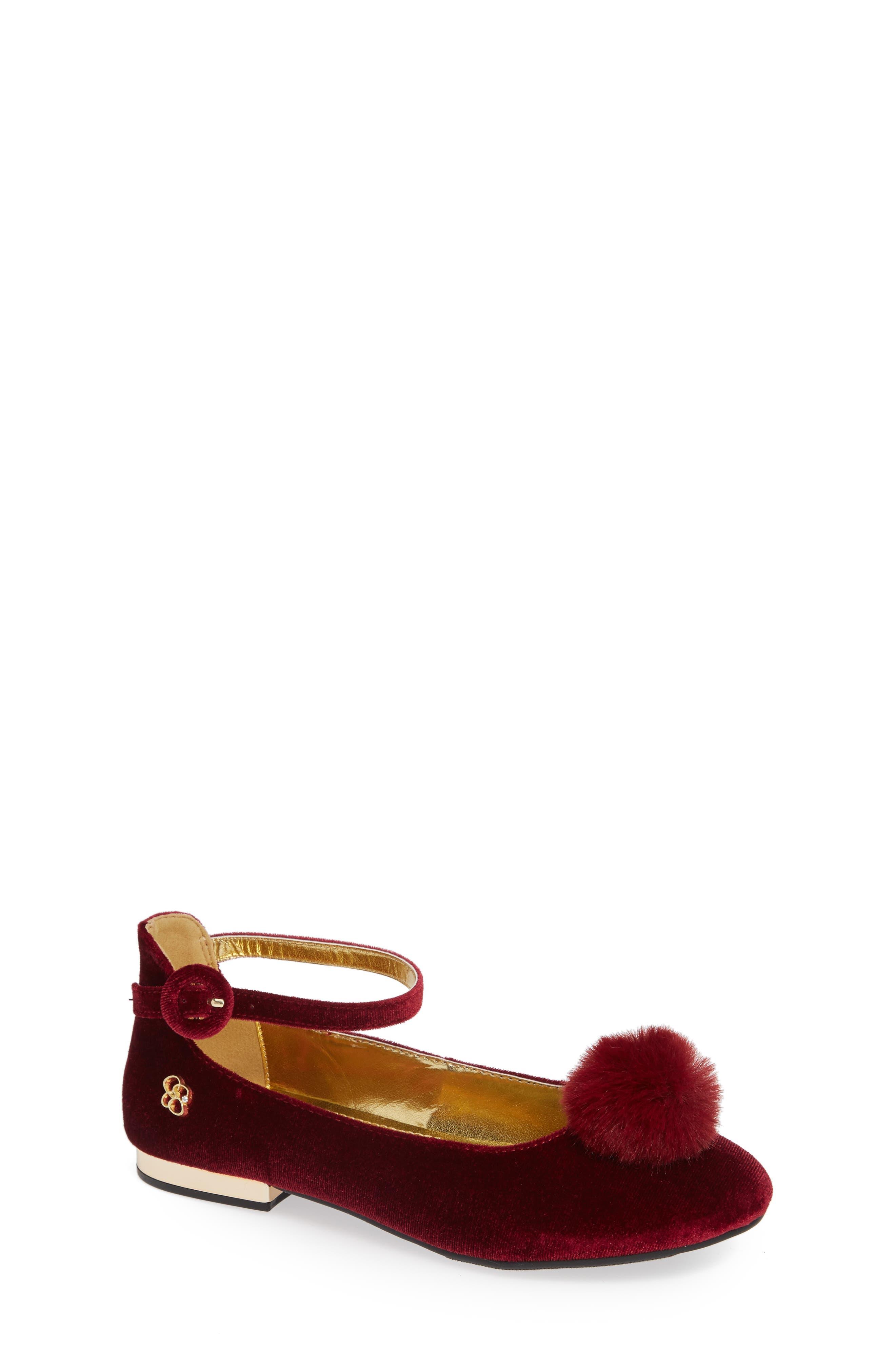 Ankle Strap Pom Flat,                             Main thumbnail 1, color,                             BORDEAUX VELVET