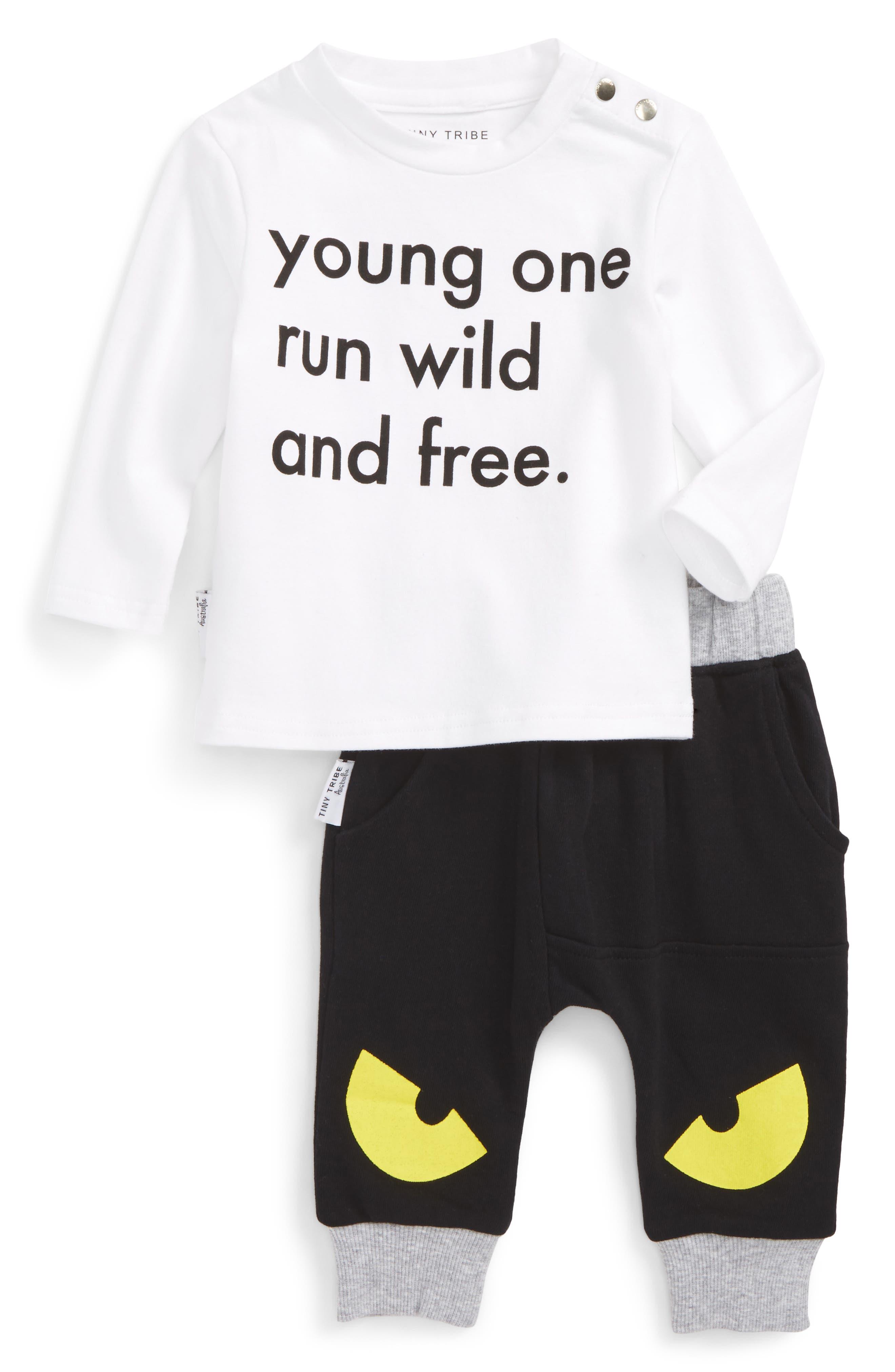Run Wild & Free T-Shirt & Jogger Pants Set,                             Main thumbnail 1, color,