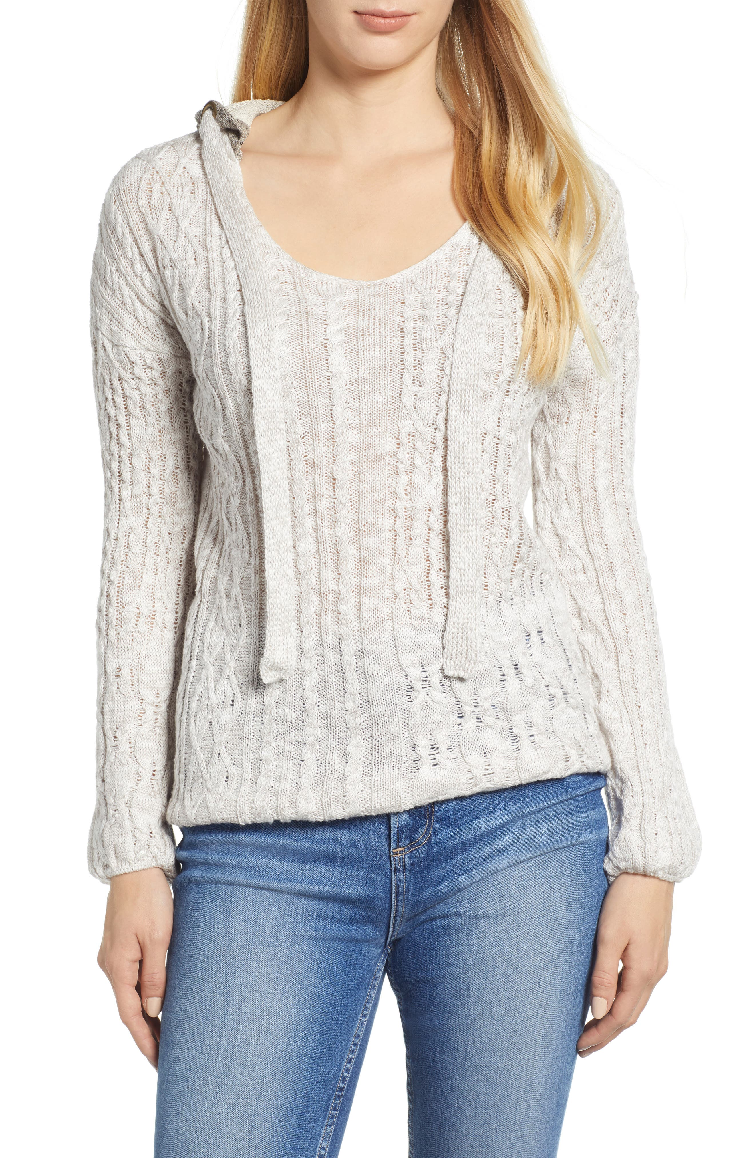 Cable Knit Hoodie,                             Main thumbnail 1, color,                             LIGHT GREY