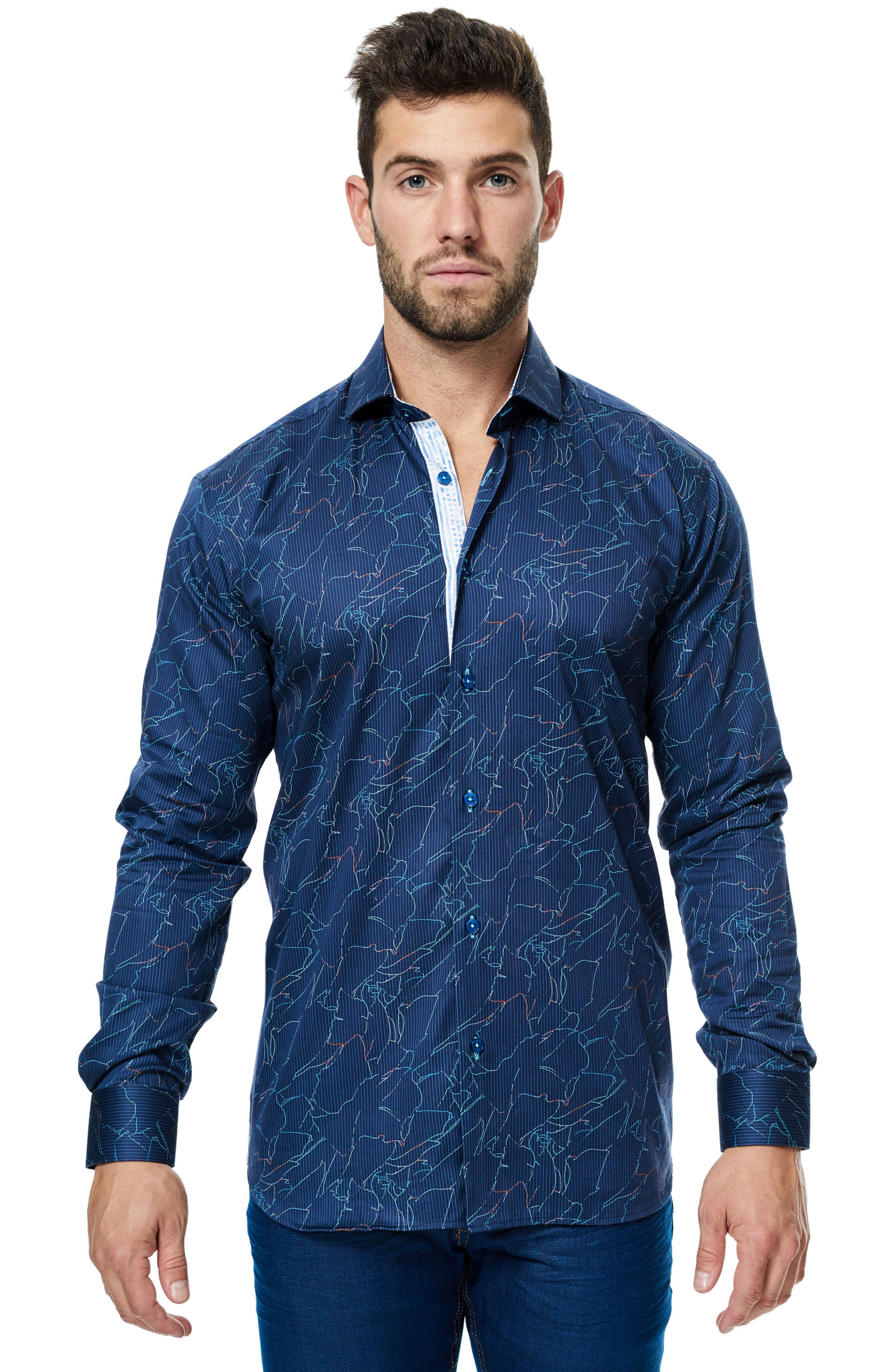 Class Zigzag Print Sport Shirt,                             Alternate thumbnail 3, color,                             410