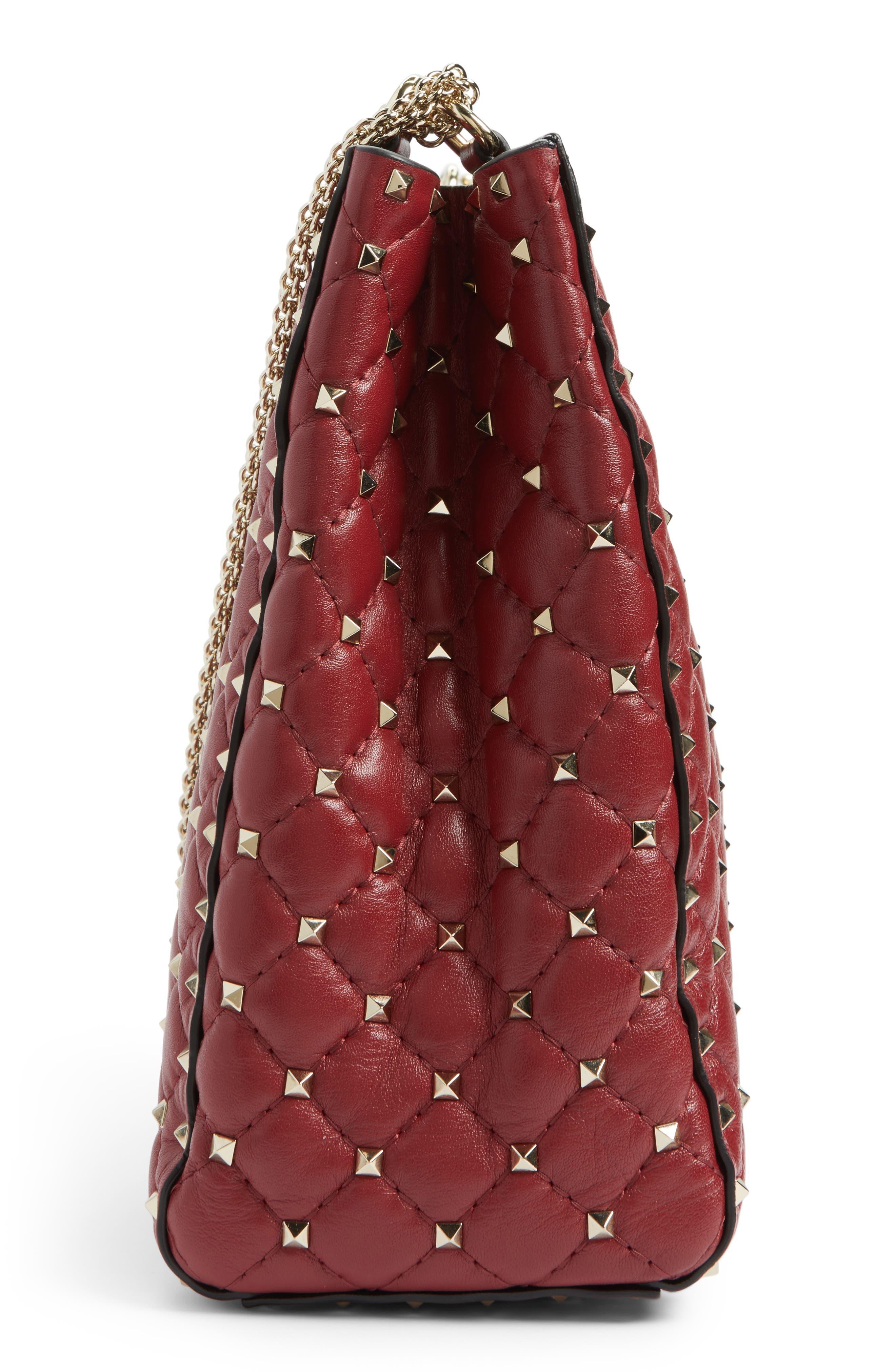 Rockstud Spike Quilted Lambskin Leather Shoulder Bag,                             Alternate thumbnail 5, color,                             ROSSO