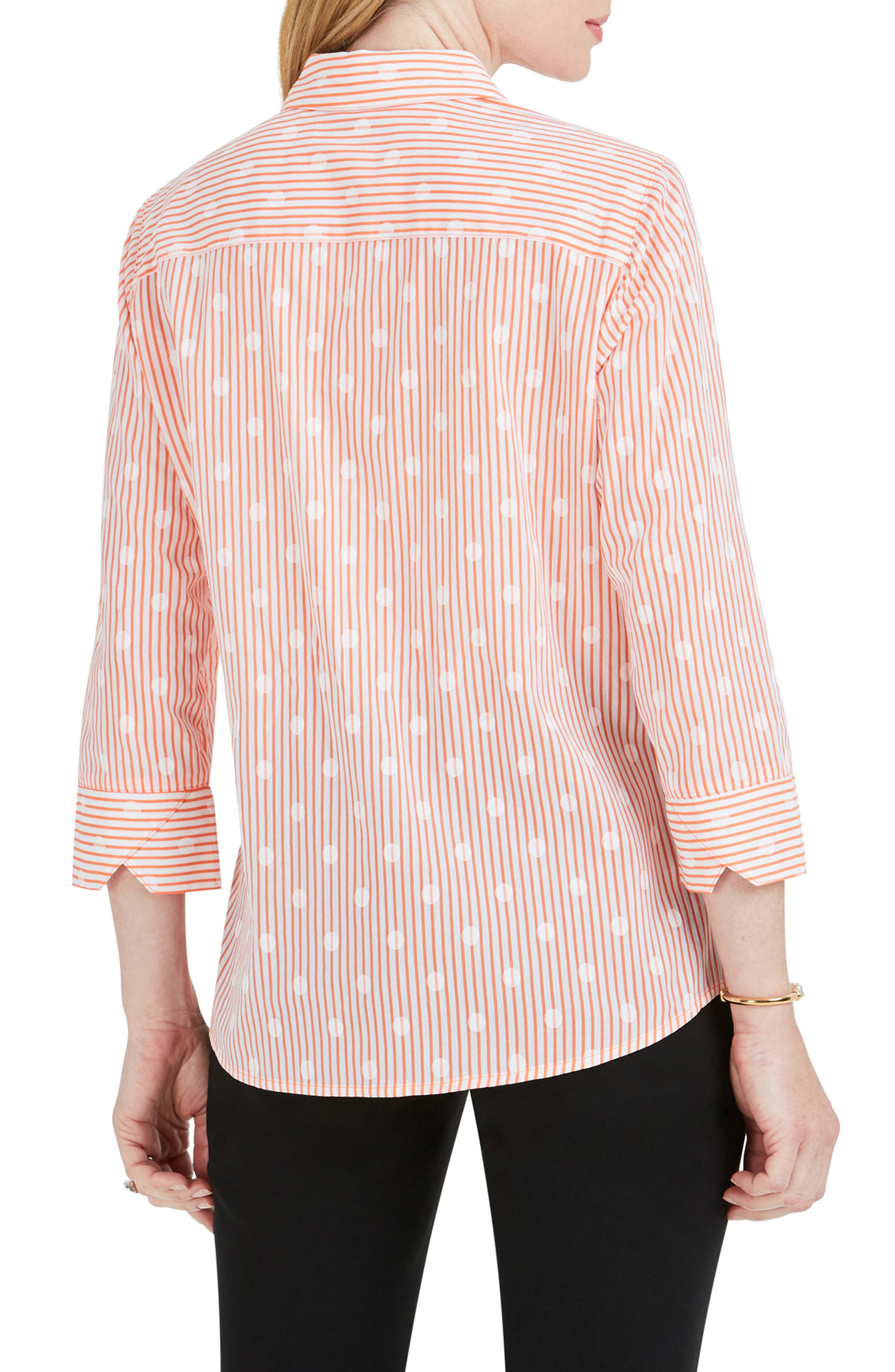 FOXCROFT,                             Ava Dot Over Stripe Print Shirt,                             Alternate thumbnail 2, color,                             CLOUD CORAL
