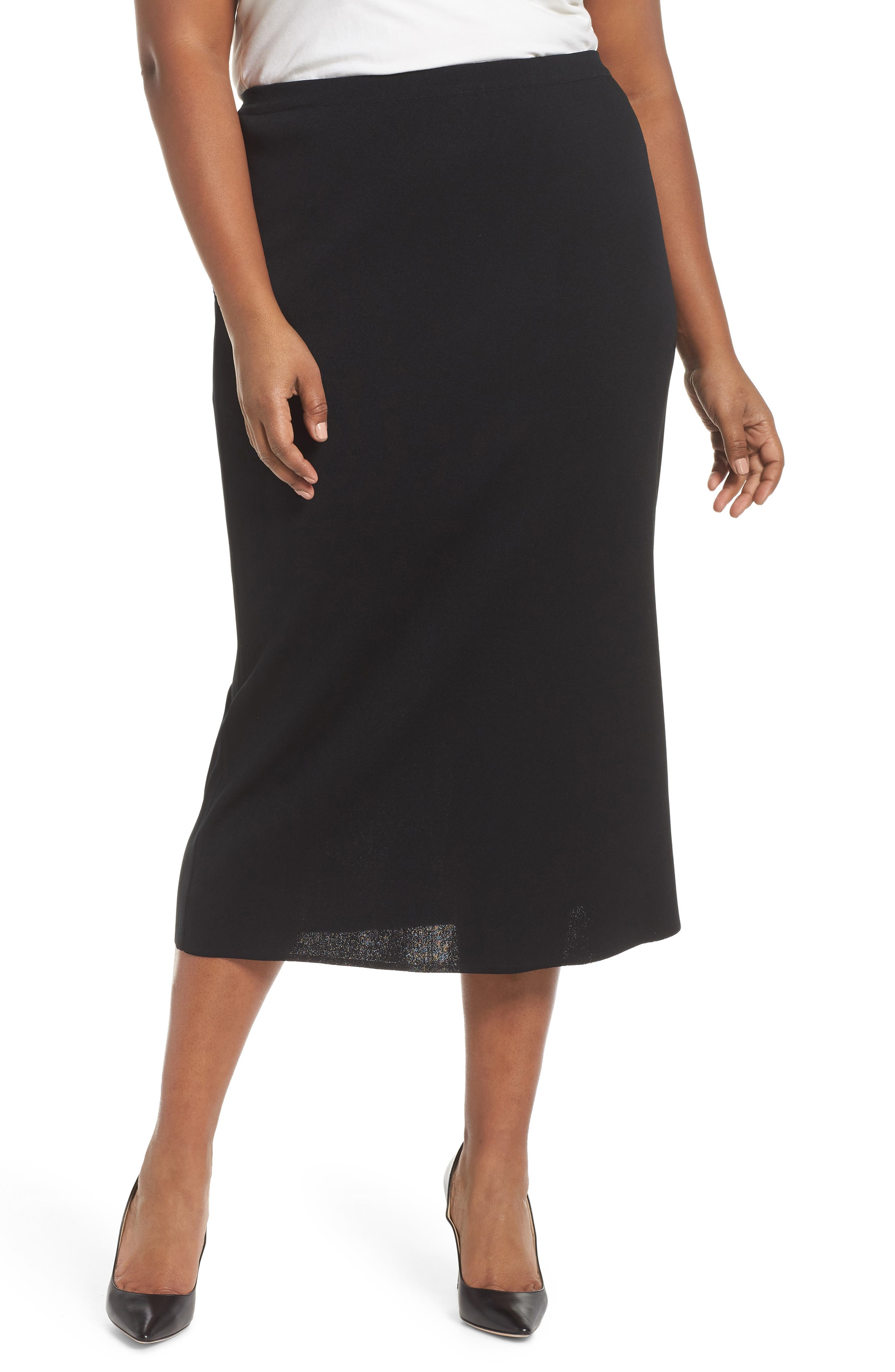 Plus Size Ming Wang Knit Midi Skirt, Black