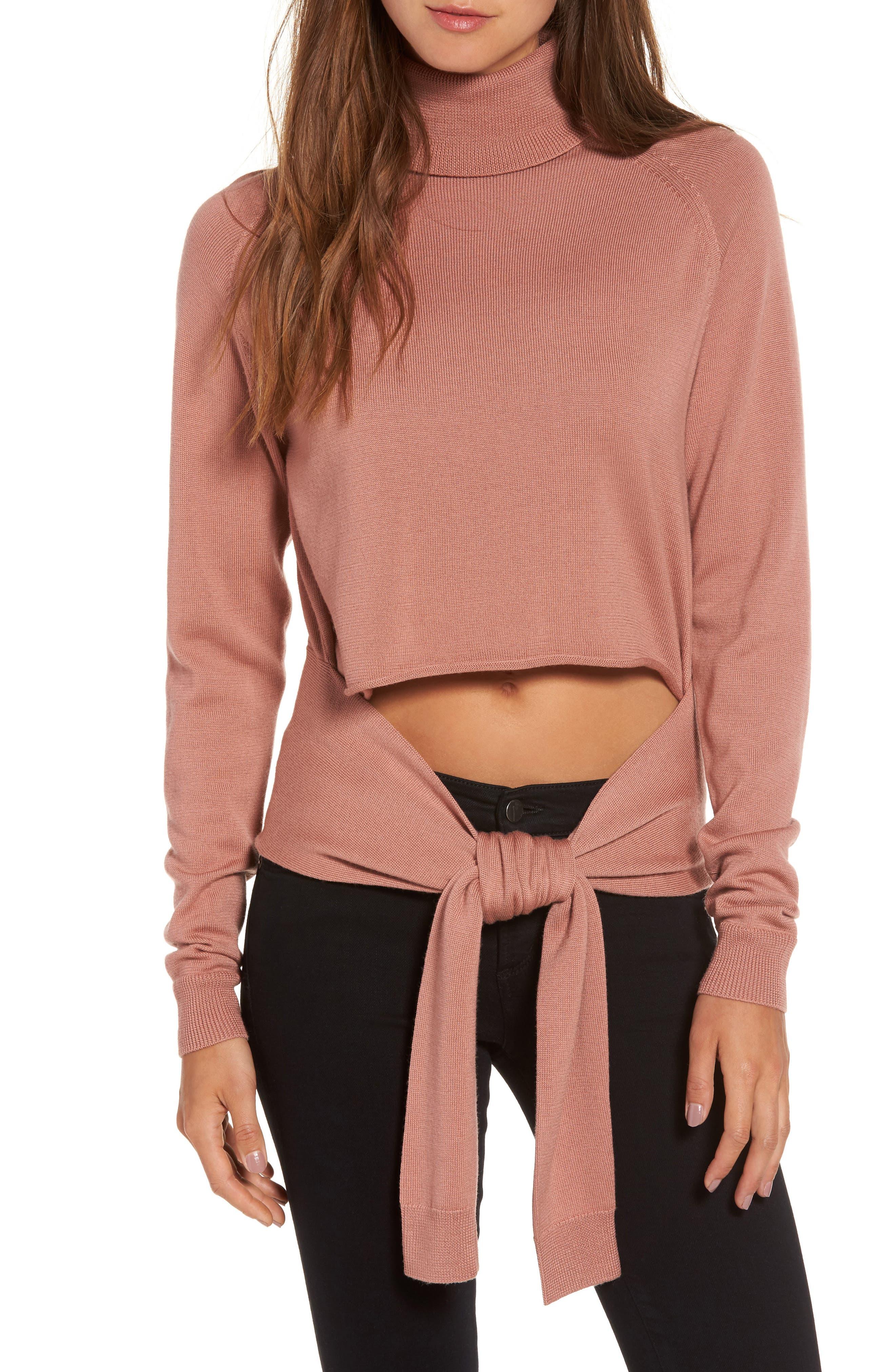 Tie Front Turtleneck Sweater,                         Main,                         color, 682
