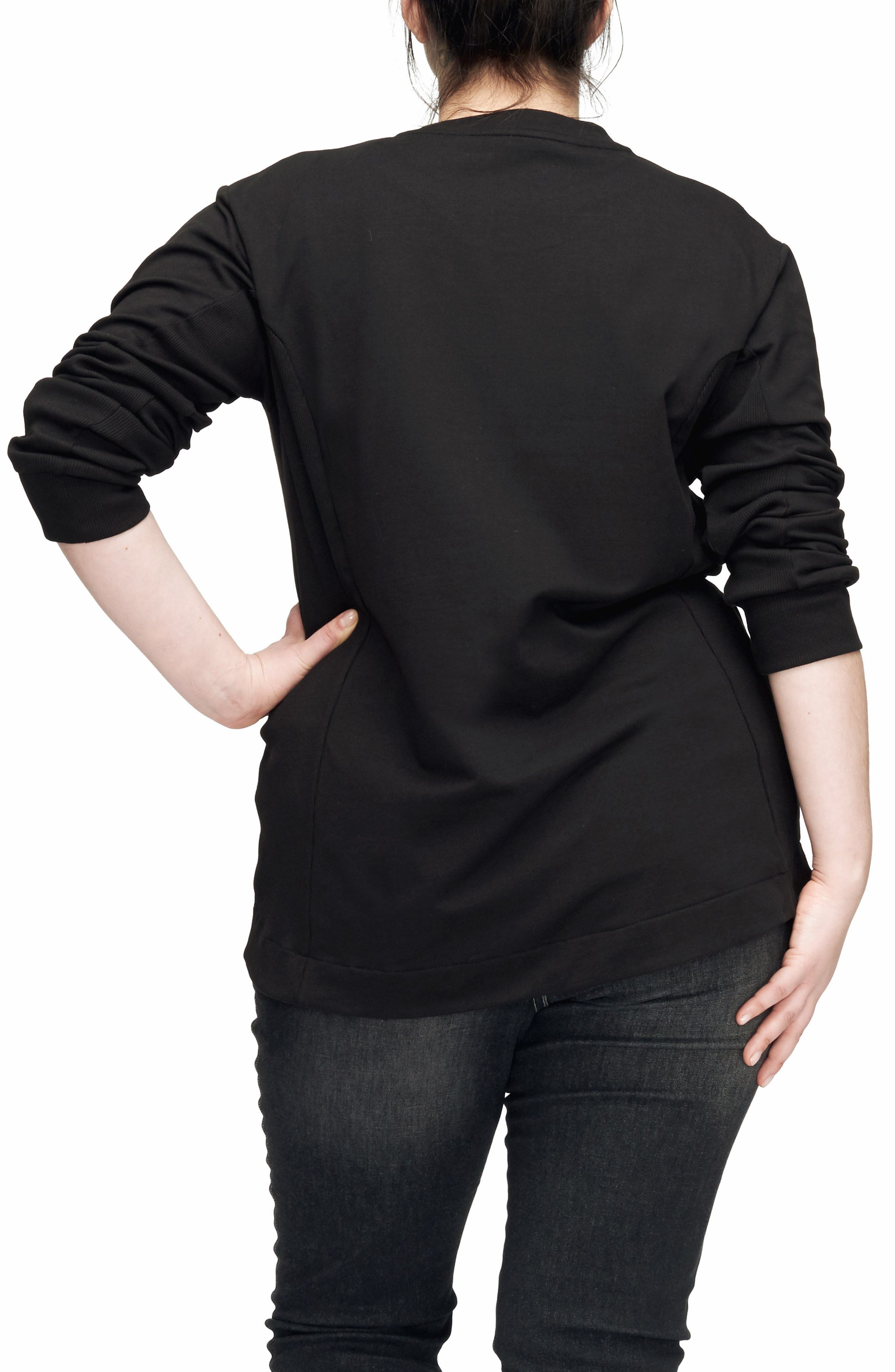 Corbelle Zip Hem Sweatshirt,                             Alternate thumbnail 2, color,                             BLACK