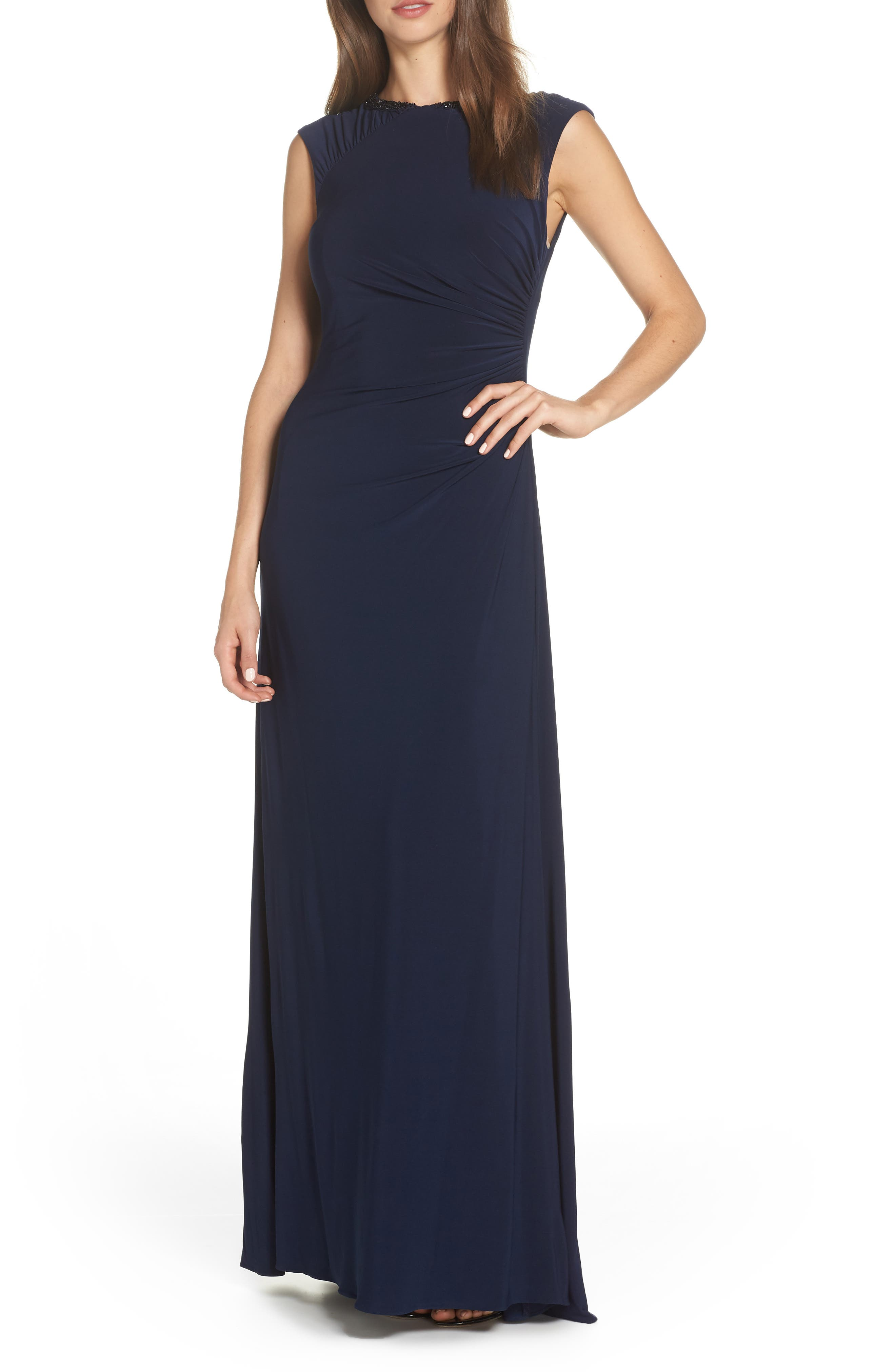 Adrianna Papell Ruched Jersey Gown, Blue