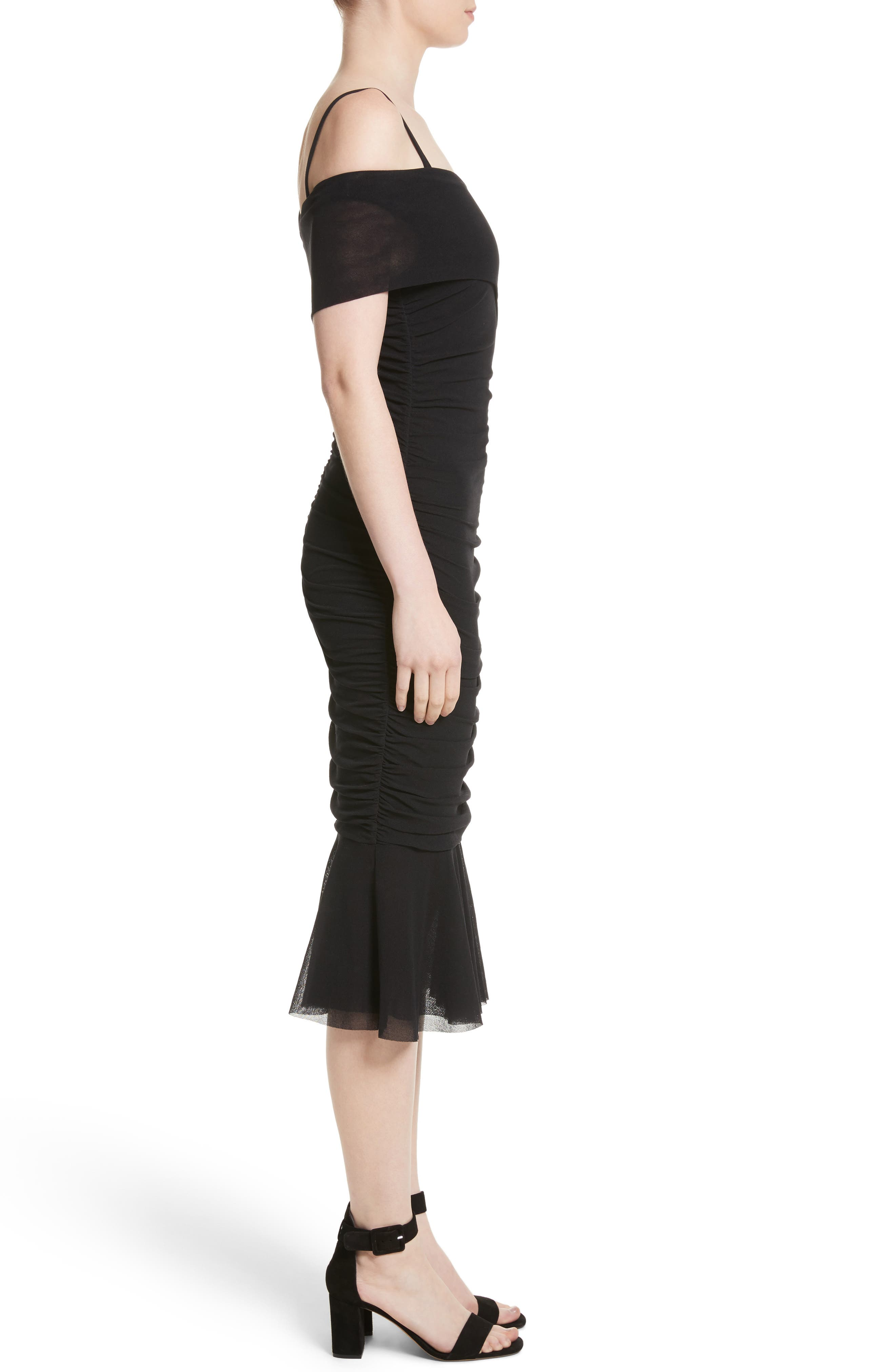 Ruched Tulle Cold Shoulder Dress,                             Alternate thumbnail 3, color,                             NERO