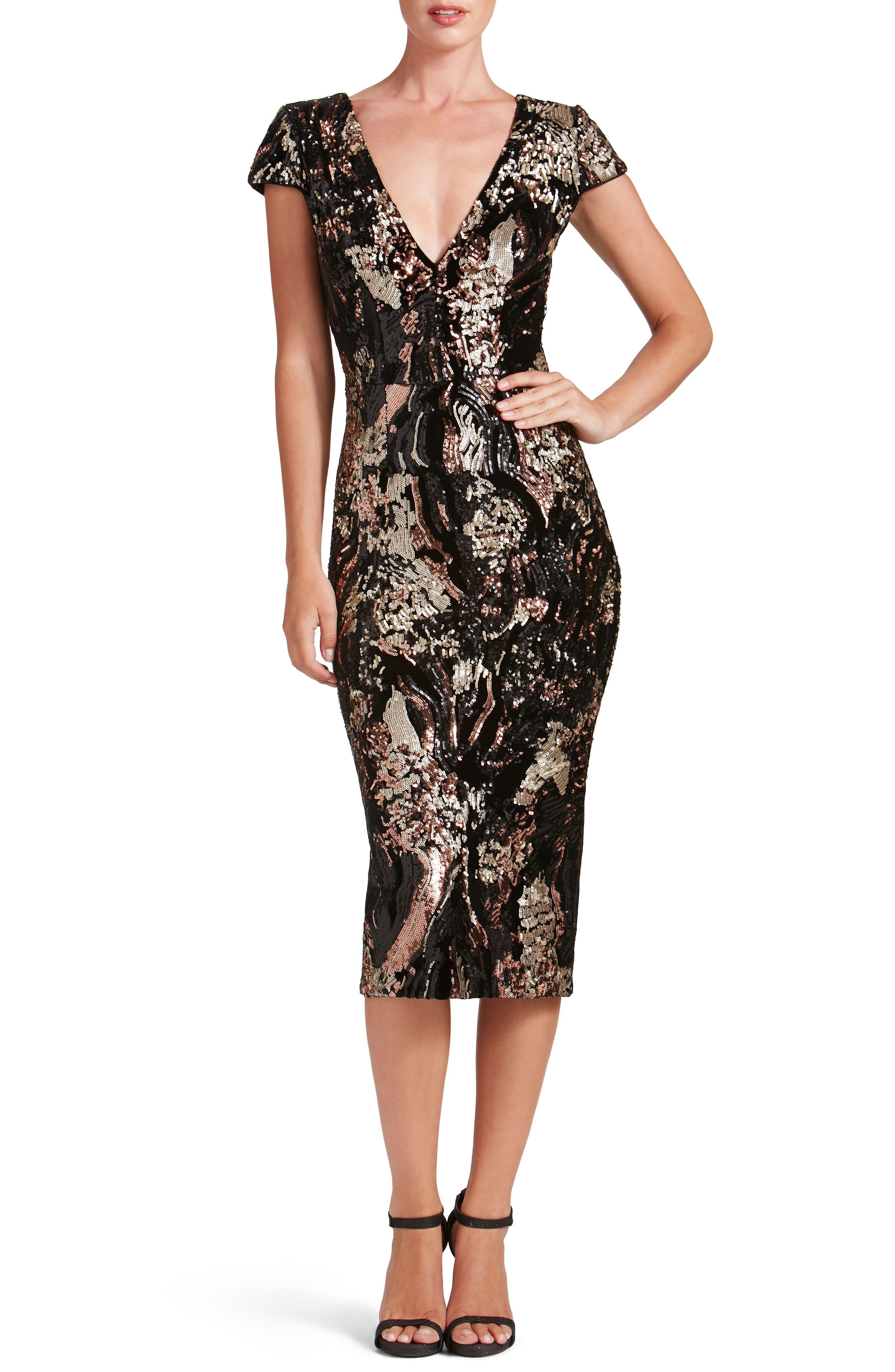 Allison Sequin Velvet Body-Con Dress,                             Alternate thumbnail 5, color,                             208