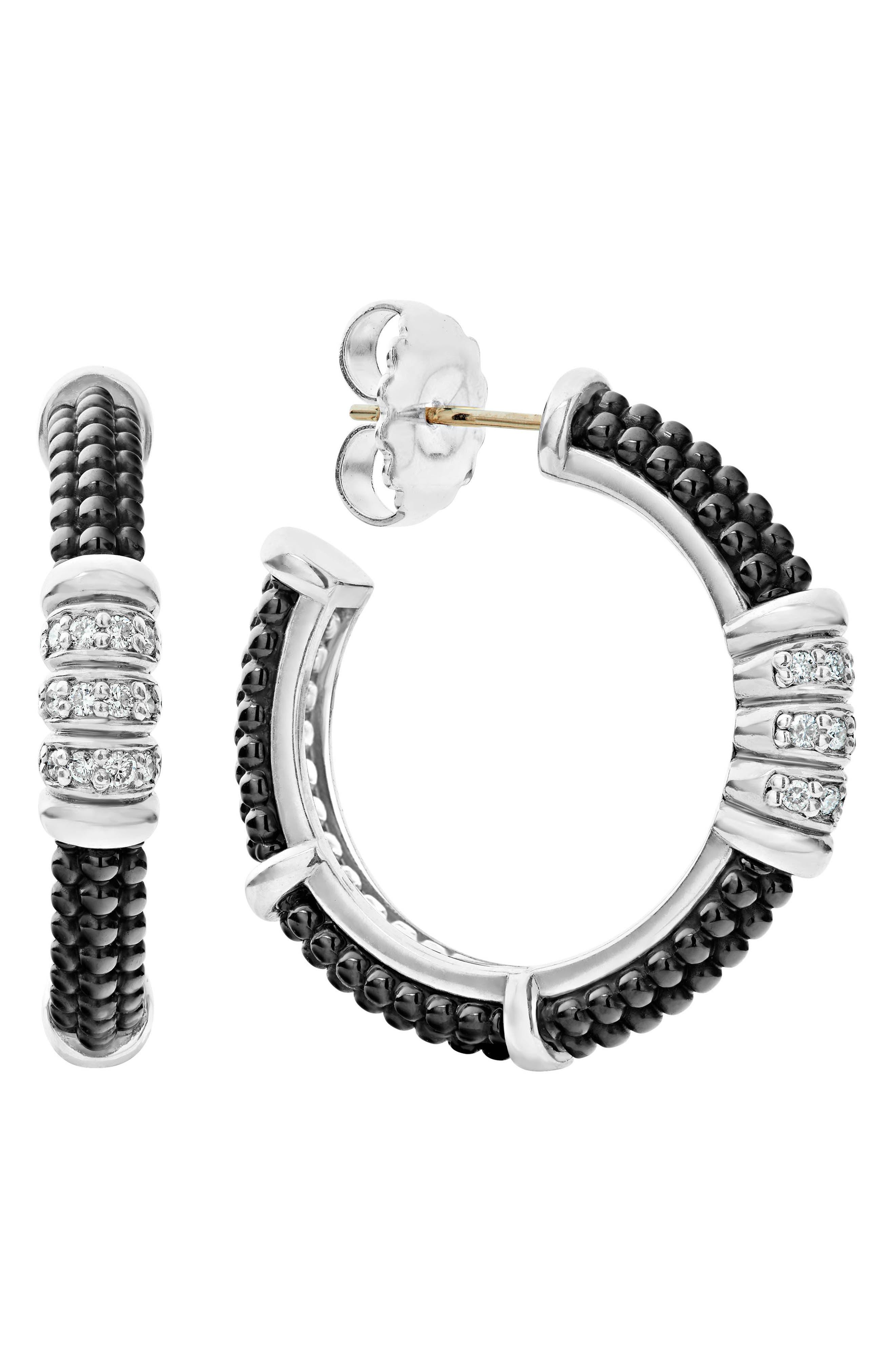 LAGOS Sterling Silver Black Caviar Diamond & Black Ceramic Hoop Earrings
