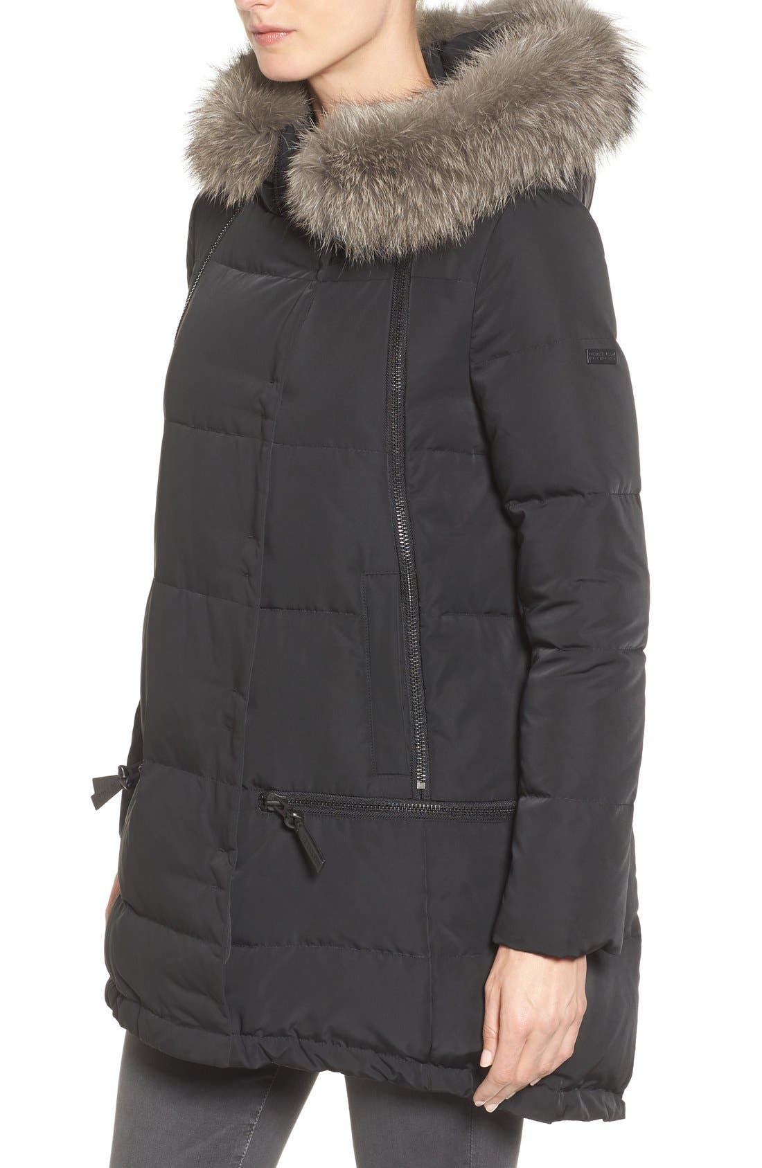 Relaxed Water Resistant Down Parka with Genuine Fox Fur Trim,                             Alternate thumbnail 8, color,