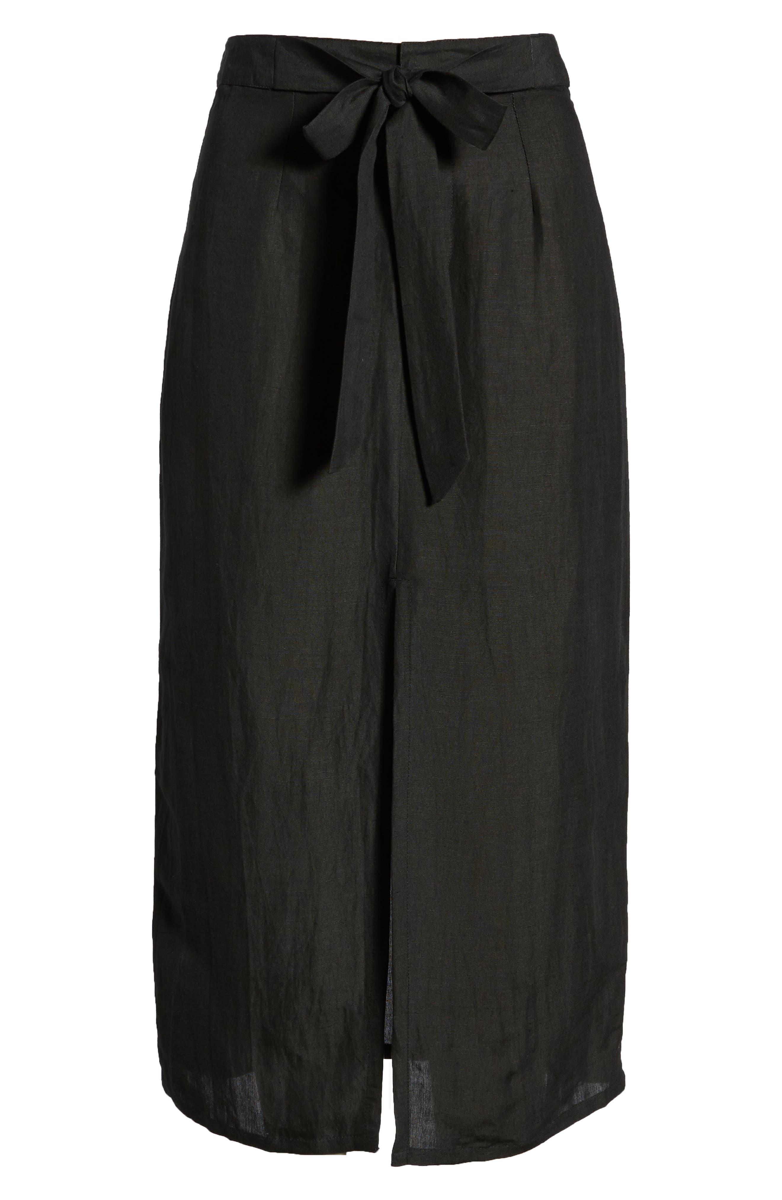 Linen Blend Midi Skirt,                             Alternate thumbnail 6, color,                             001