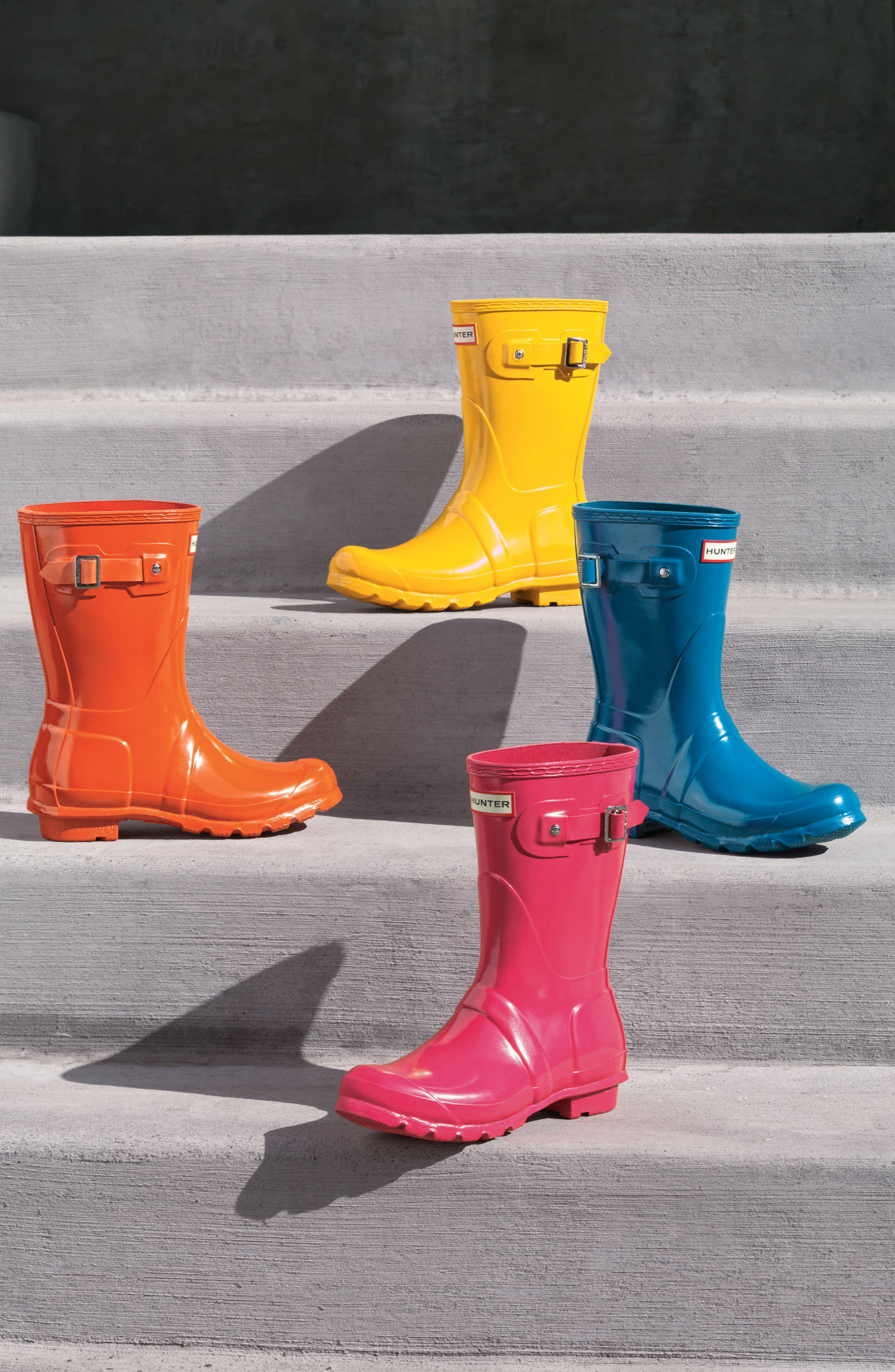 Original Short Gloss Rain Boot,                             Alternate thumbnail 7, color,                             BRIGHT PINK