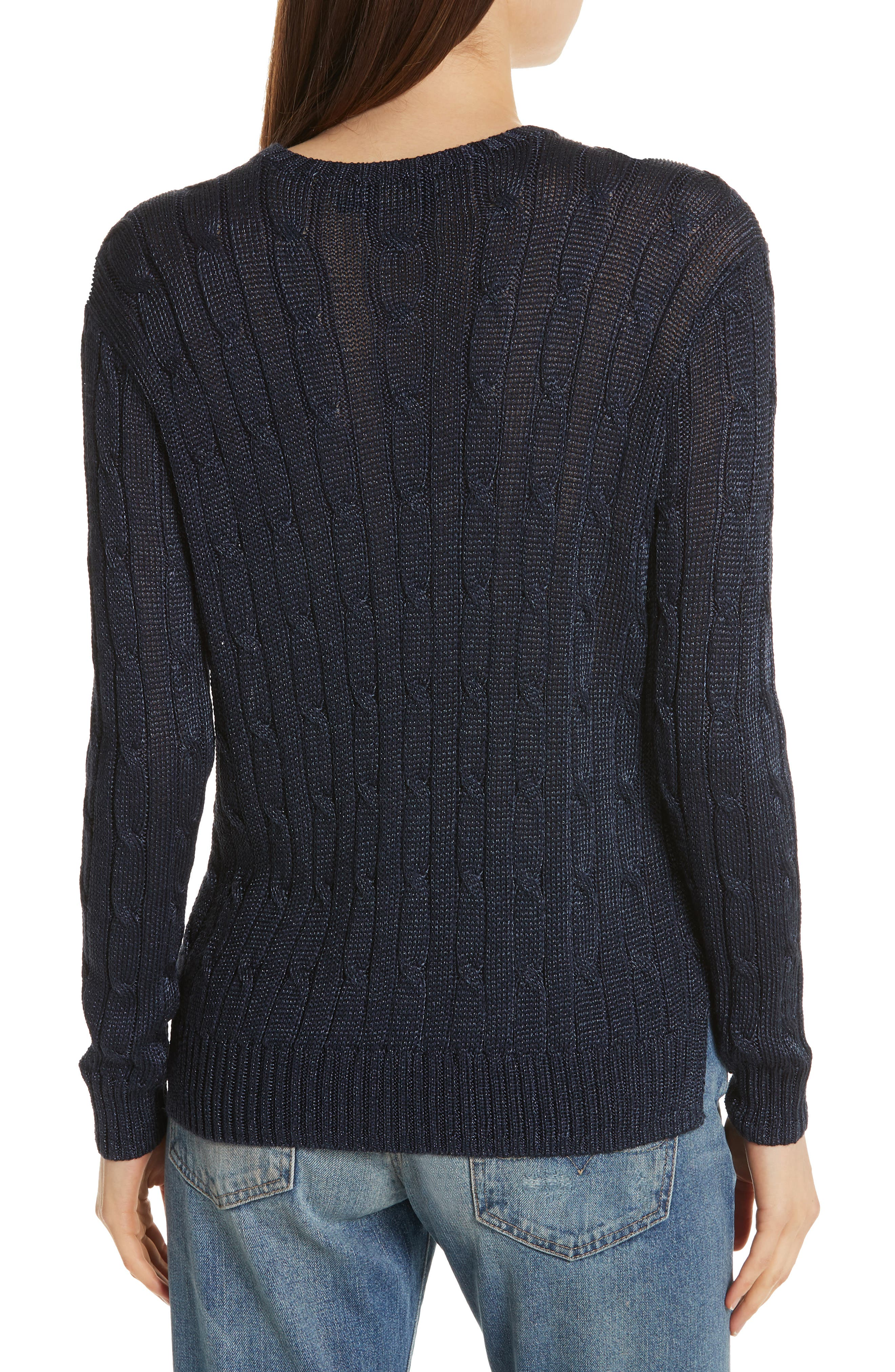 Cable Sweater,                             Alternate thumbnail 2, color,                             NAVY METALLIC