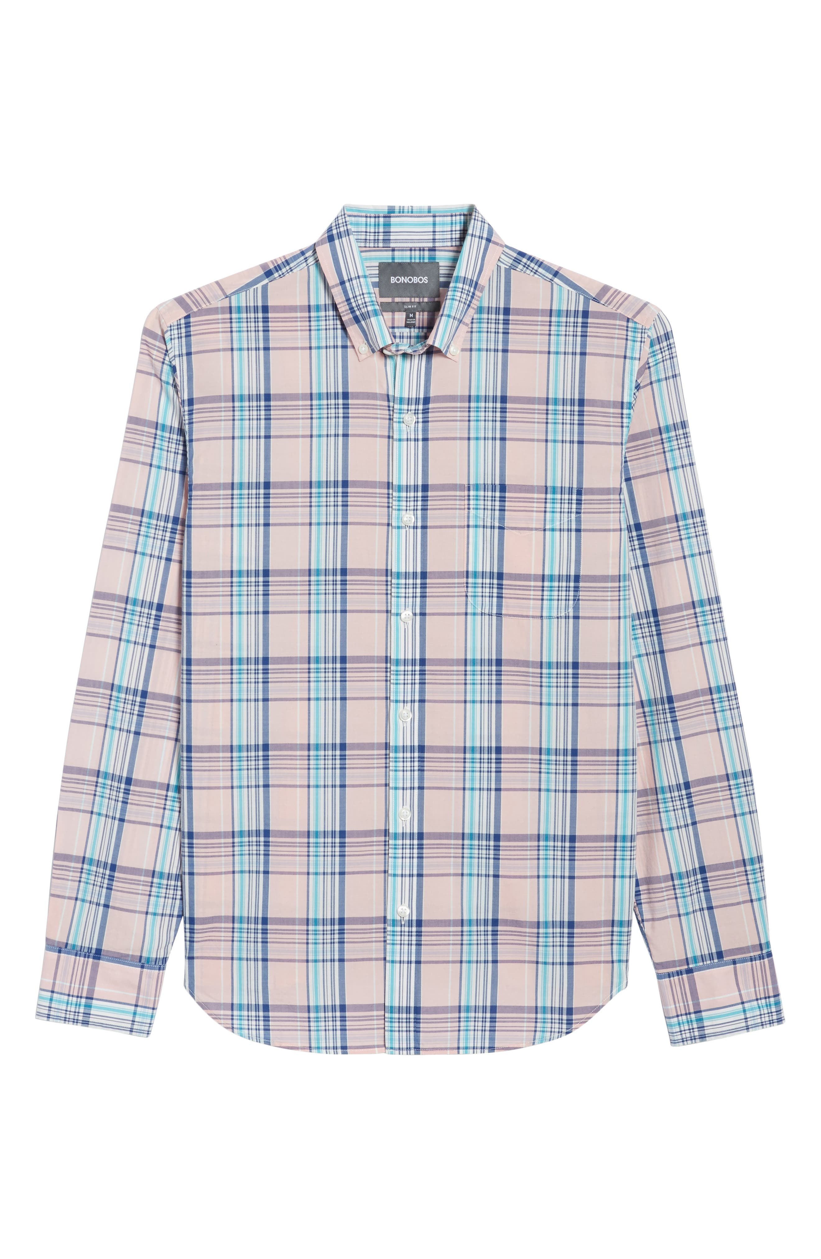 Slim Fit Summerweight Plaid Sport Shirt,                             Alternate thumbnail 6, color,                             650