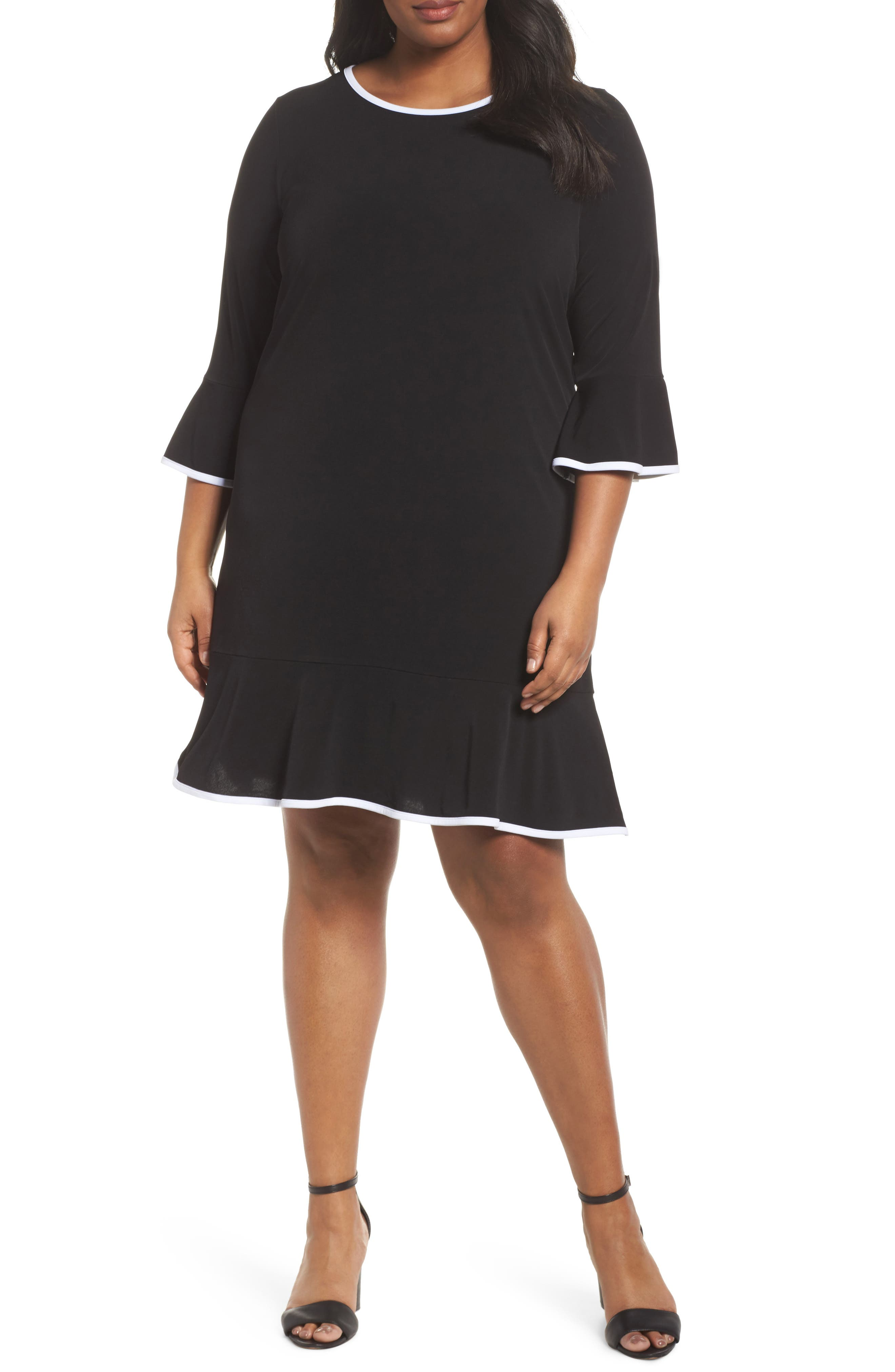Solid Flounce Dress,                             Main thumbnail 1, color,                             001